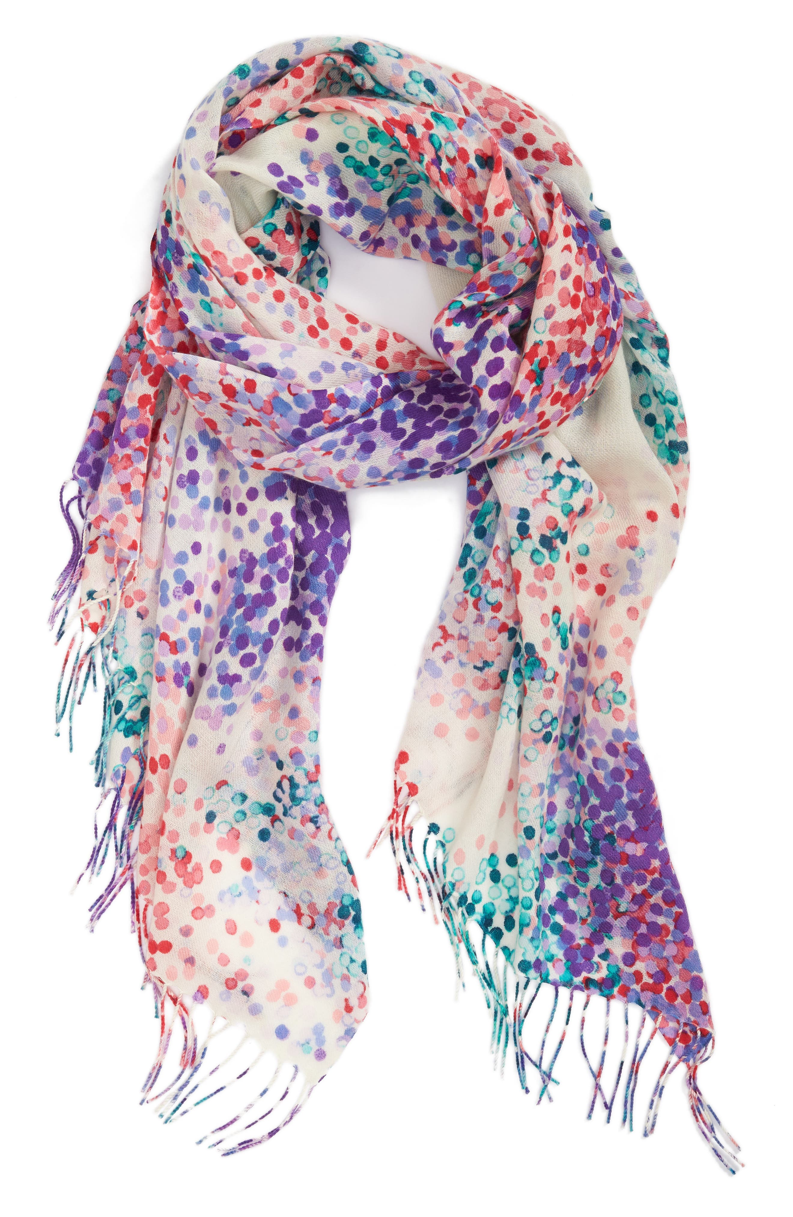 Tissue Print Wool & Cashmere Wrap Scarf,                             Alternate thumbnail 2, color,                             Pink Beautiful Dots