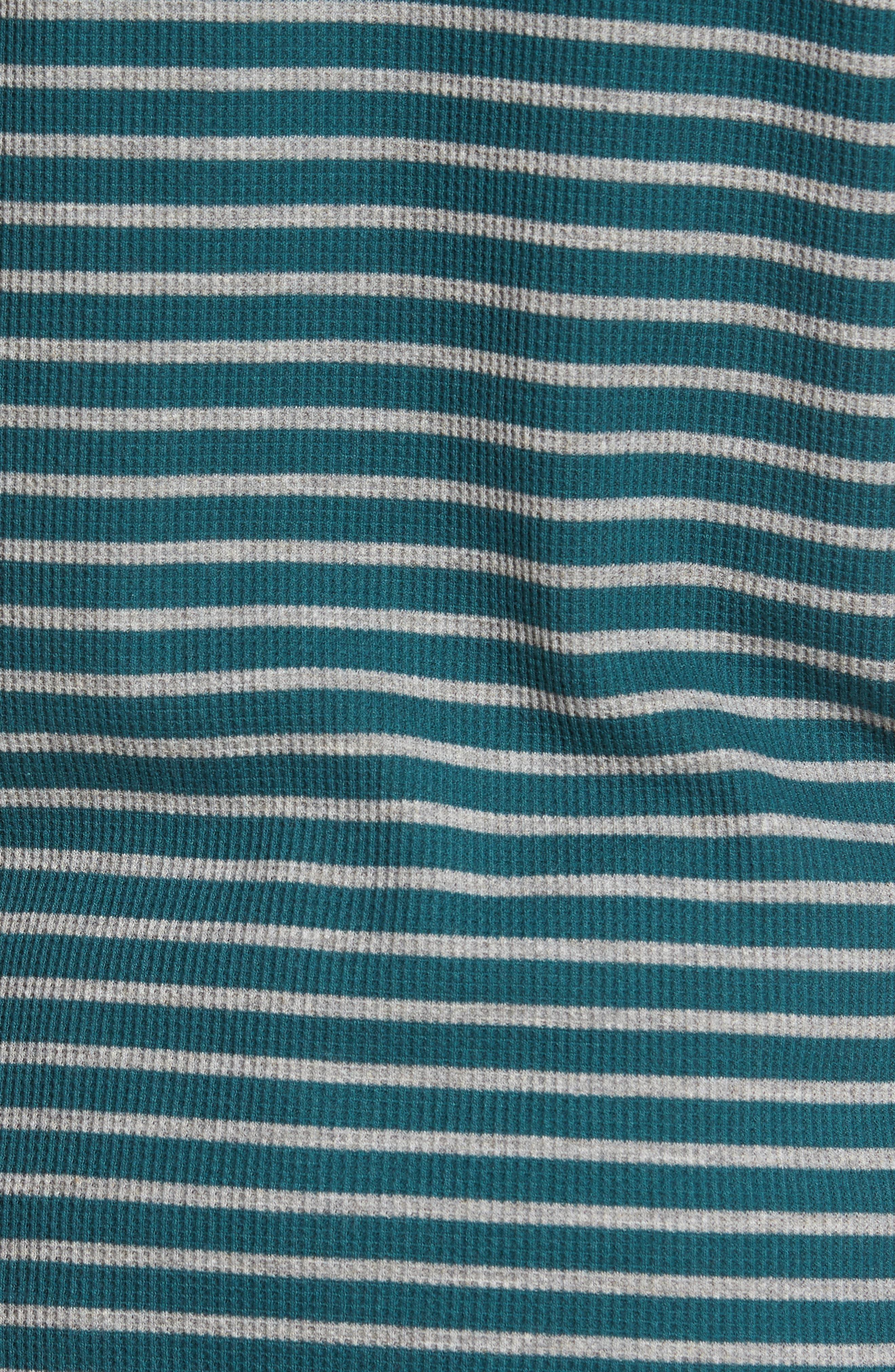 Stripe Waffle Henley,                             Alternate thumbnail 5, color,                             Heather Grey/ Dark Fern