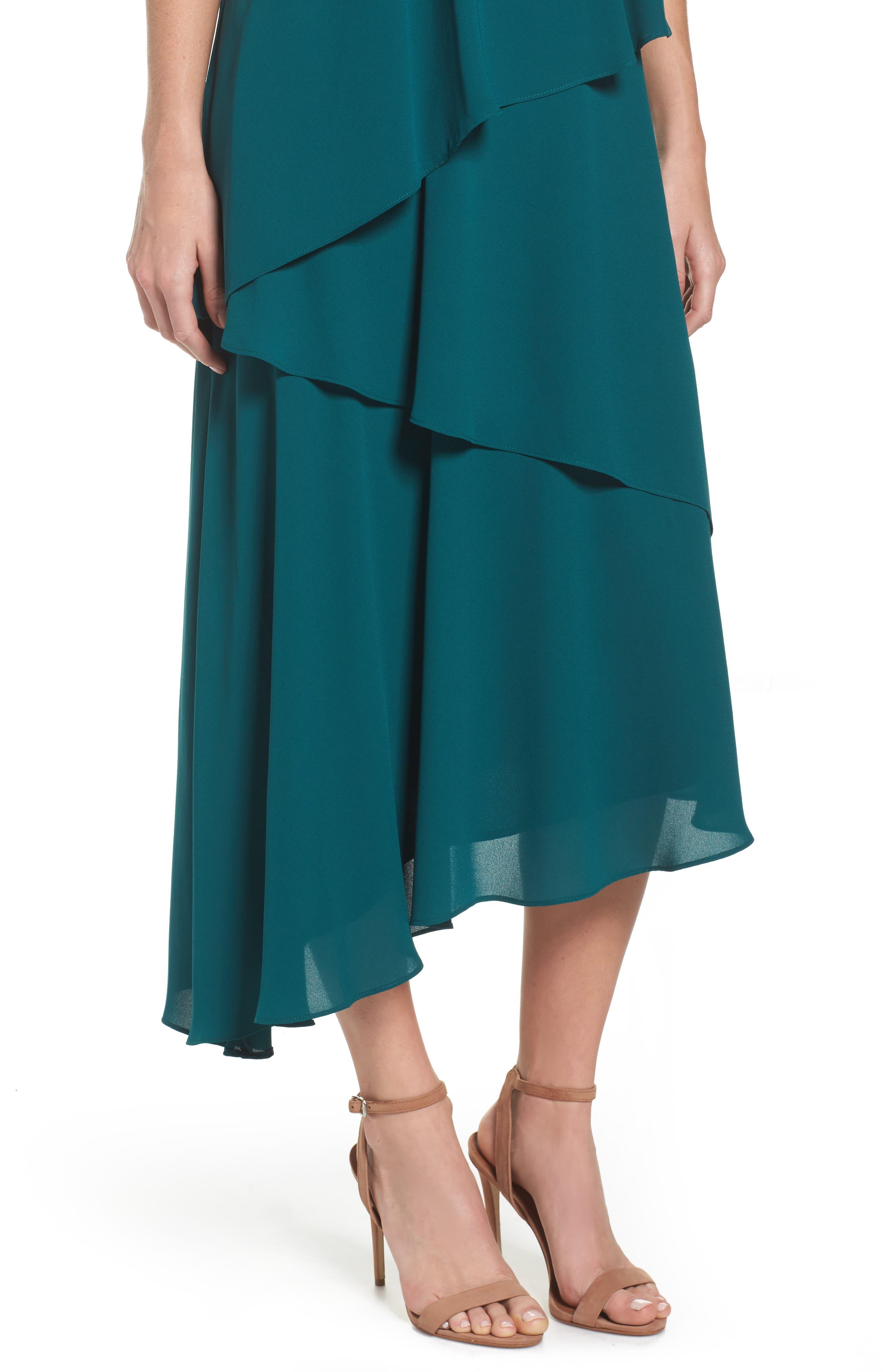 Georgette Asymmetric Dress,                             Alternate thumbnail 4, color,                             Hunter