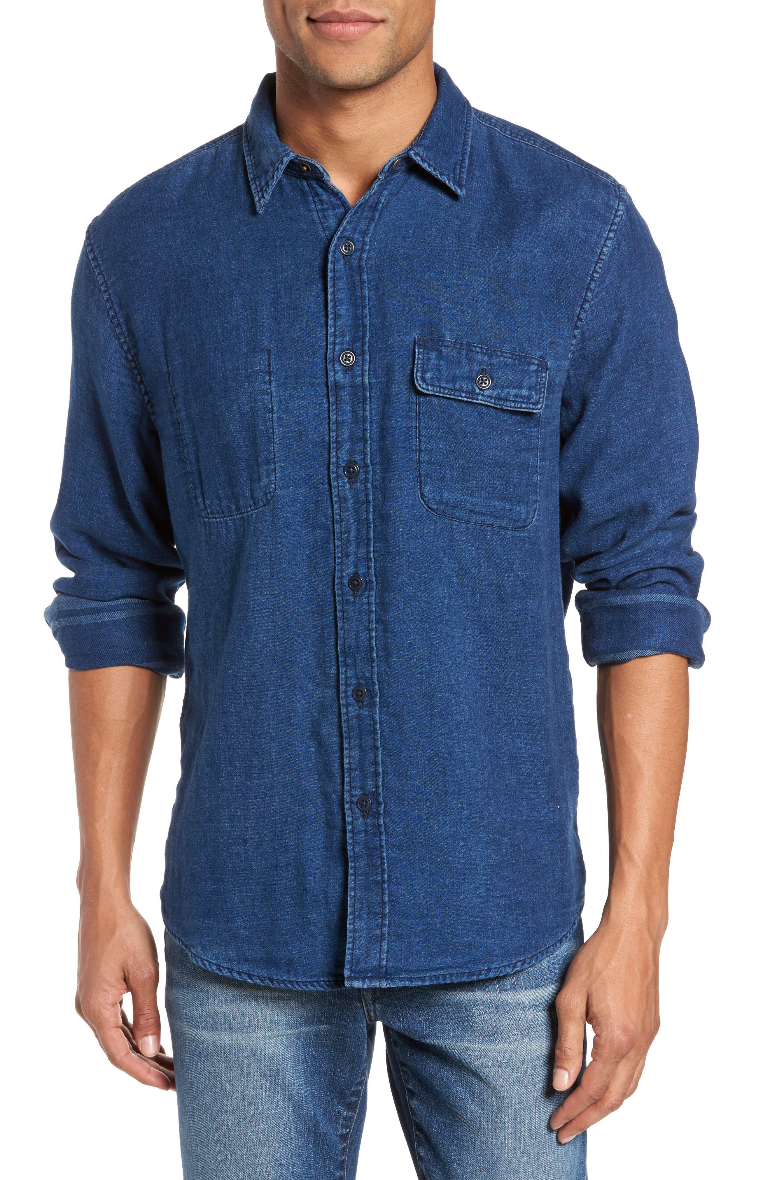 Brand Belmar Reversible Work Shirt,                         Main,                         color, Indigo Serape Stripe