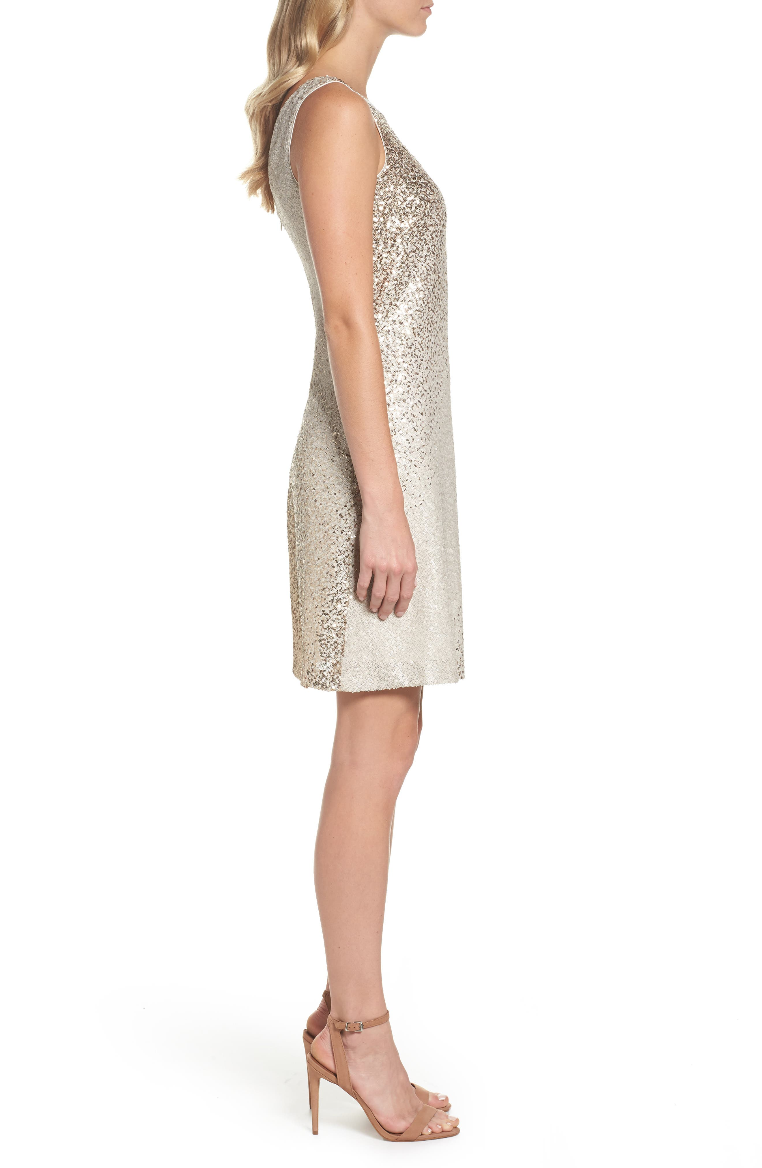 Sequin Shift Dress,                             Alternate thumbnail 3, color,                             Ivory/ Gold
