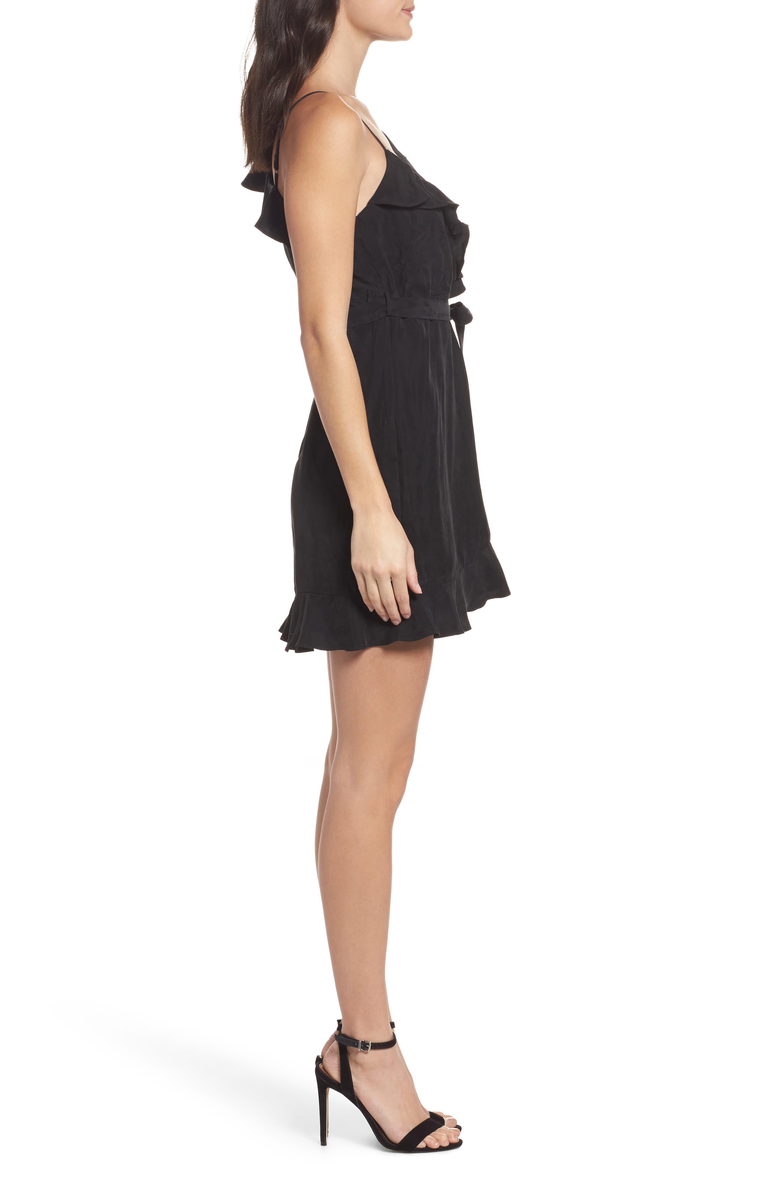 Milly One-Shoulder Wrap Dress,                             Alternate thumbnail 3, color,                             Black