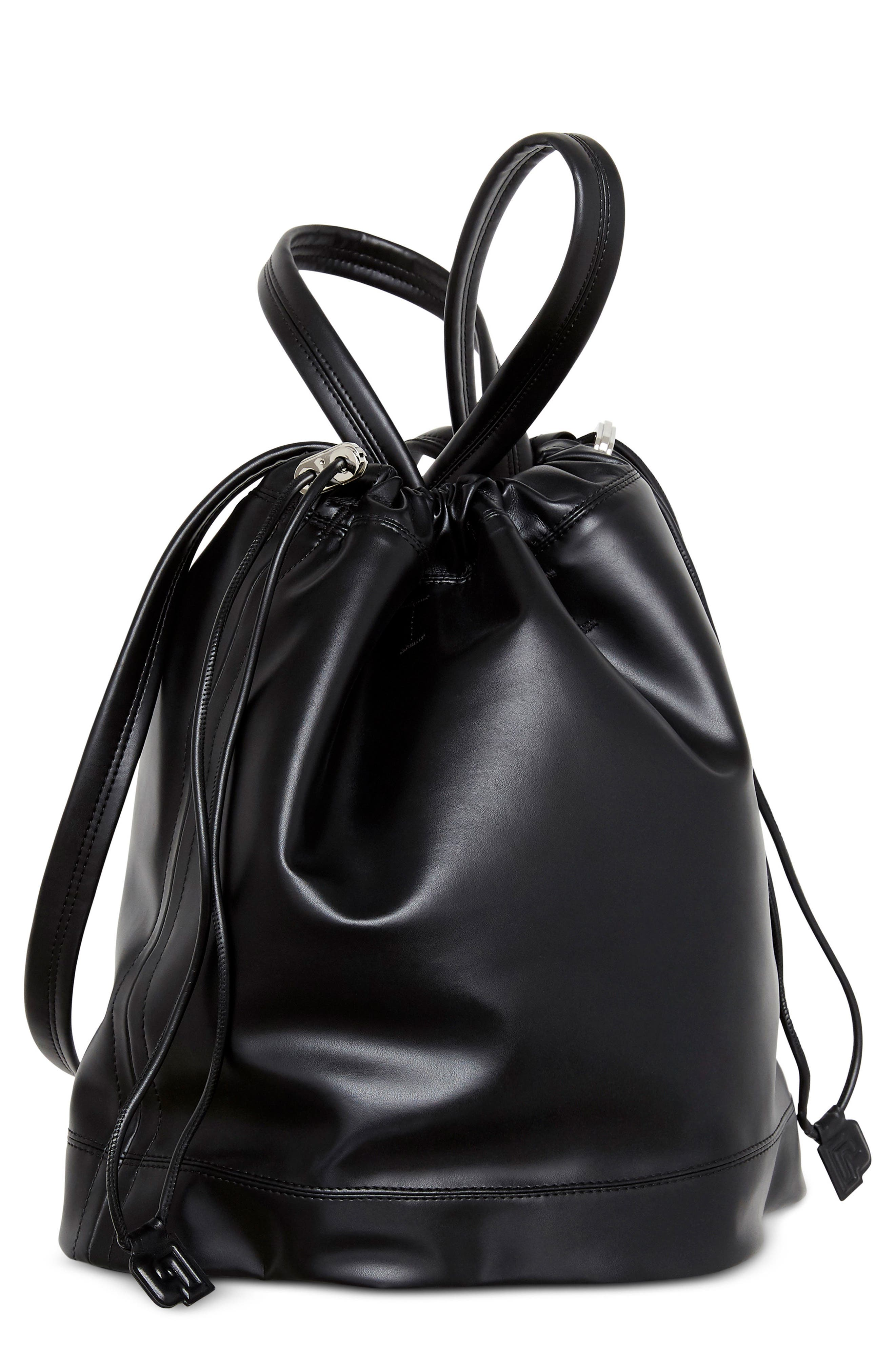 Medium Pouch Faux Leather Tote,                             Main thumbnail 1, color,                             Black