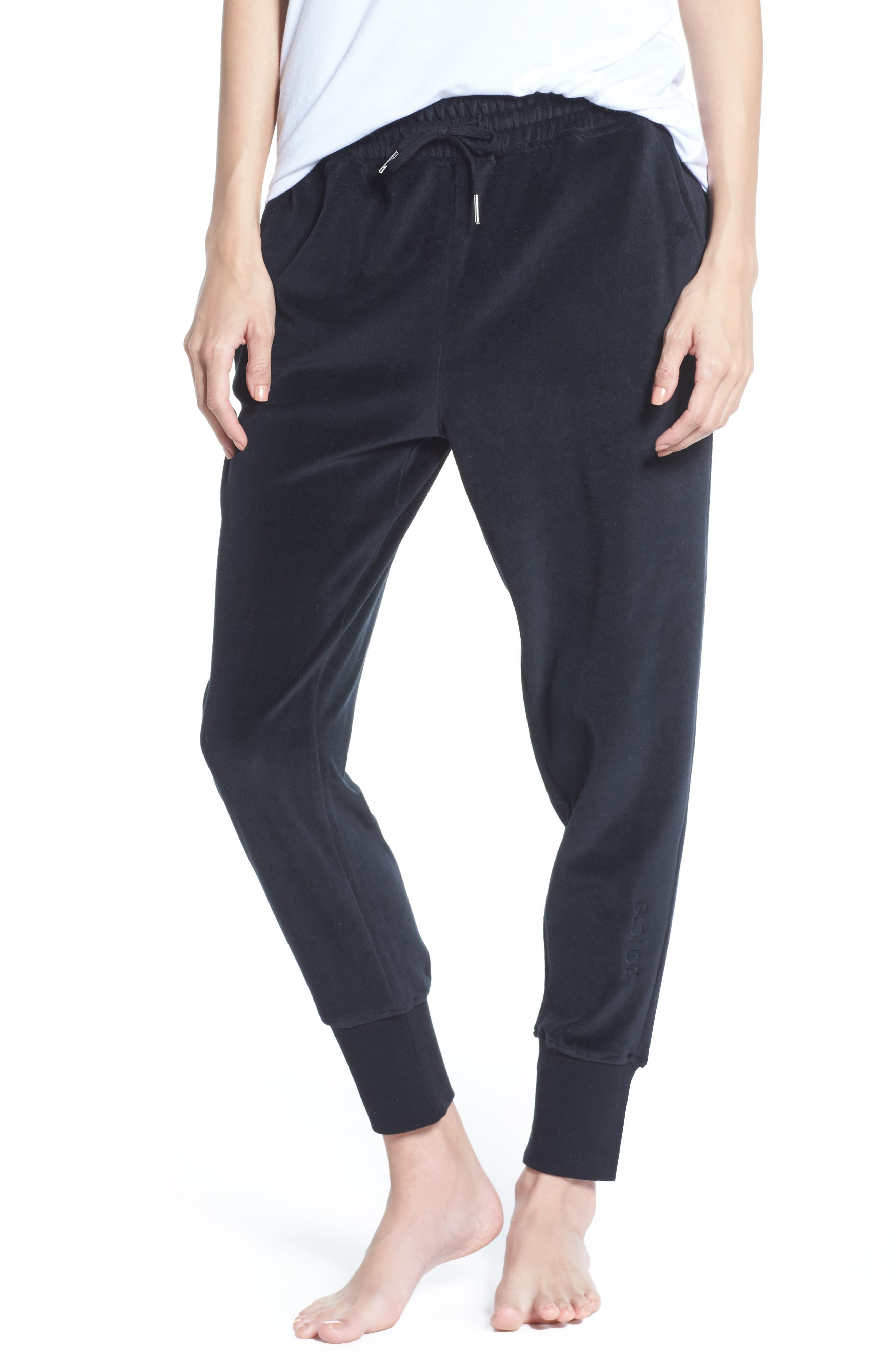 Blonde Embroidered Velour Jogger Pants,                             Main thumbnail 1, color,                             Black