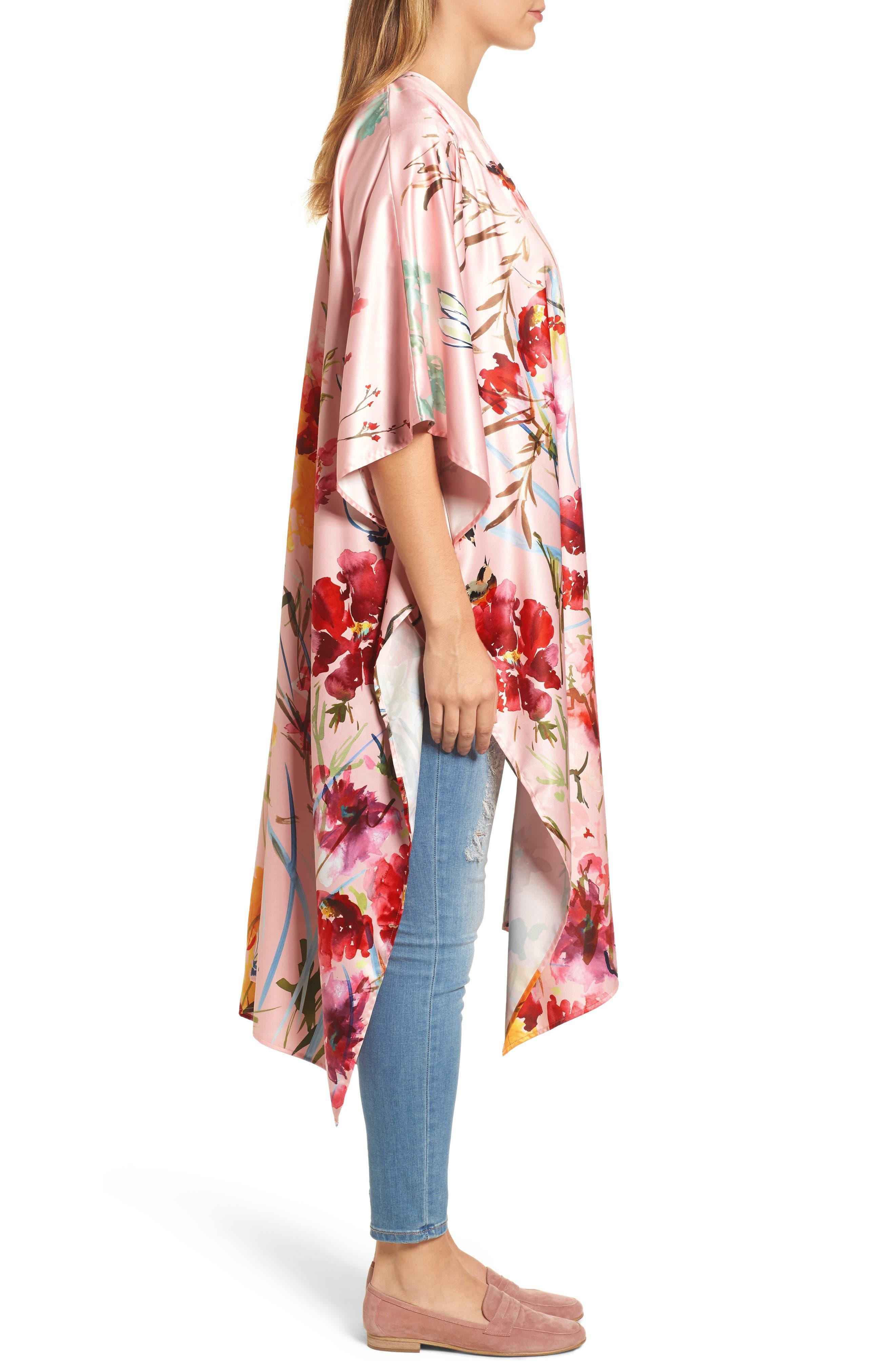 Floral Kimono,                             Alternate thumbnail 3, color,                             Pink Fantasy Garden Print