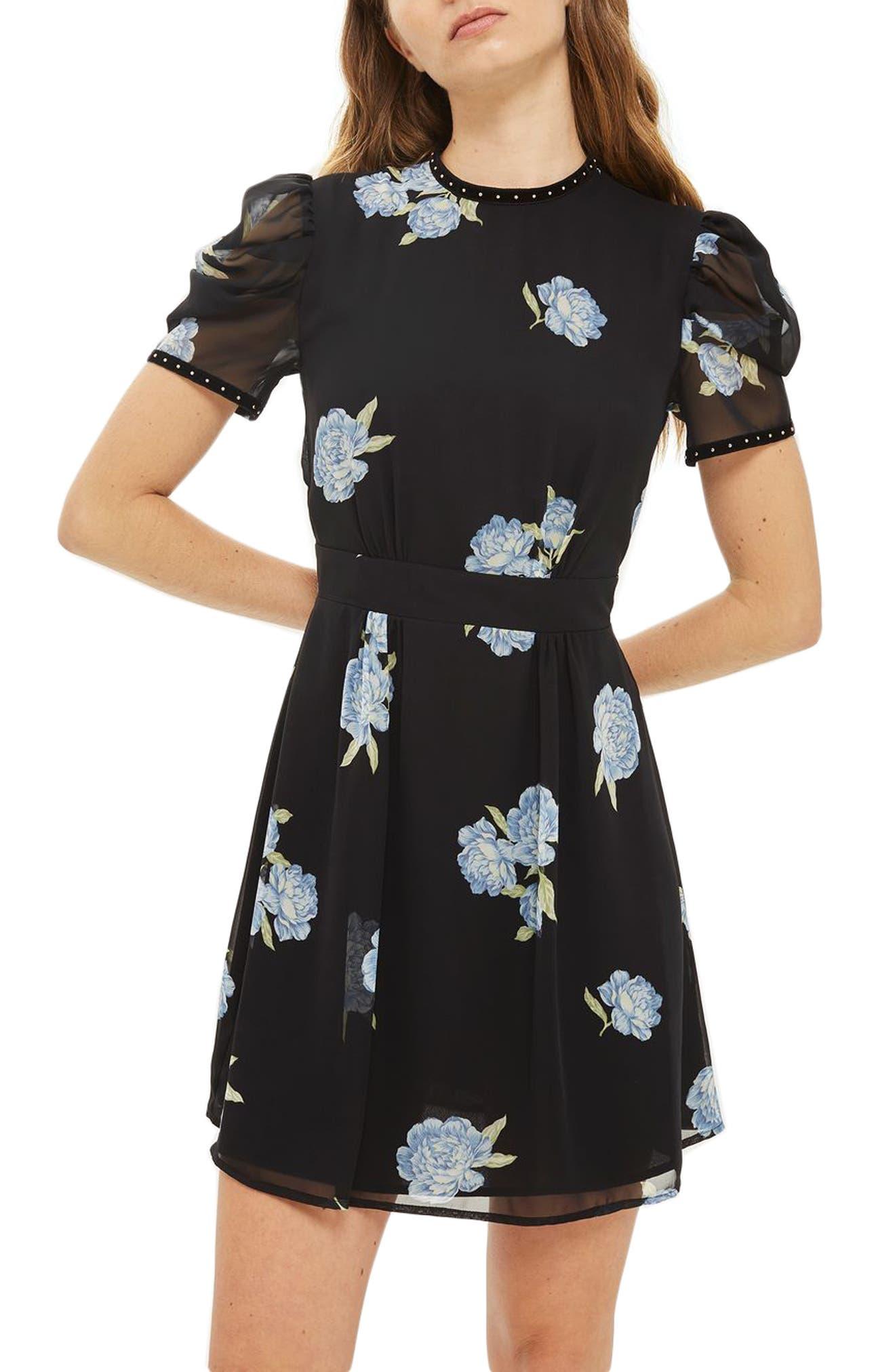 Bloom Studded Puff Sleeve Skater Dress,                         Main,                         color, Black Multi