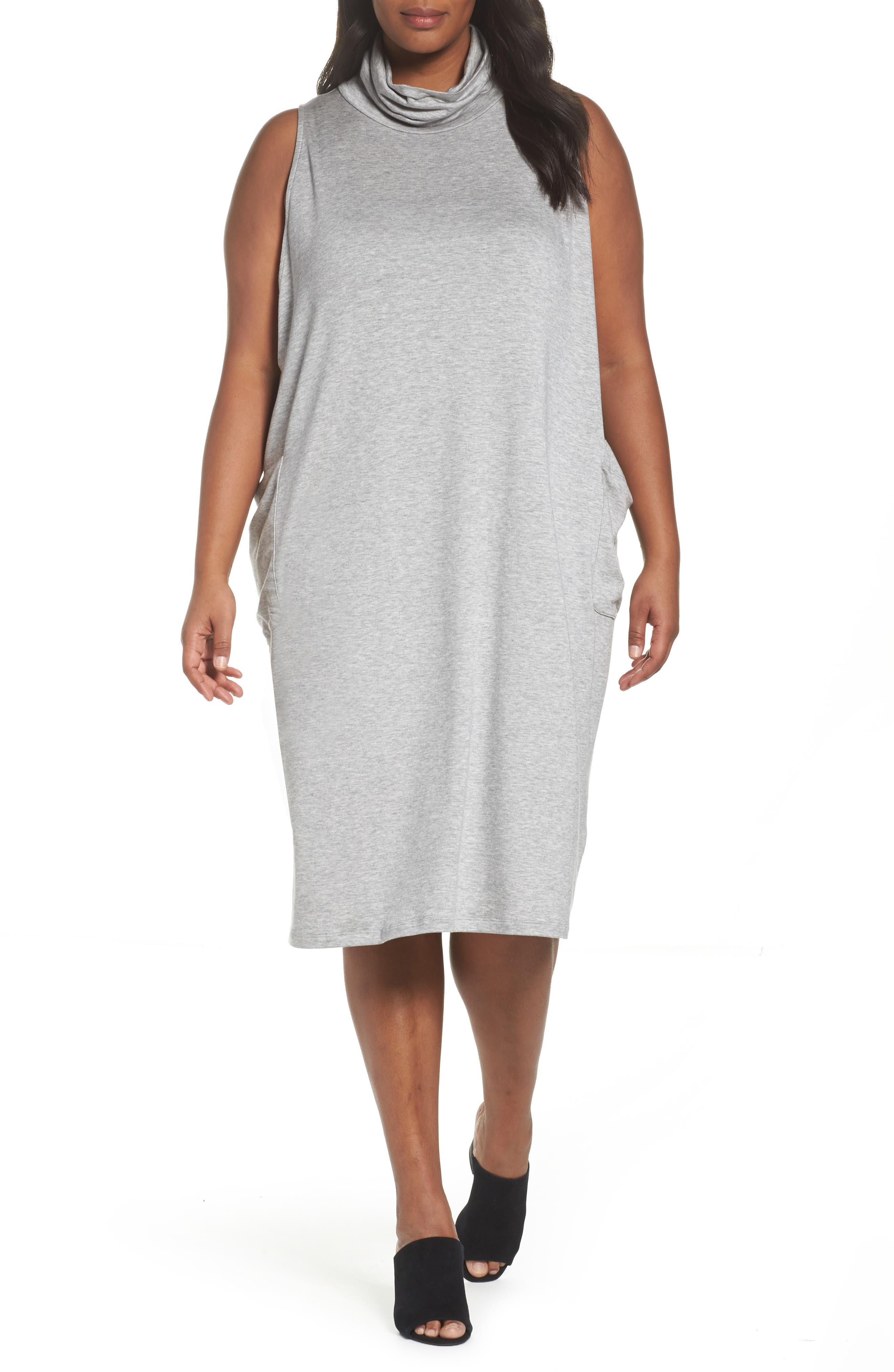 Stretch Tencel<sup>®</sup> Knit Jumper Dress,                             Main thumbnail 1, color,                             Grey