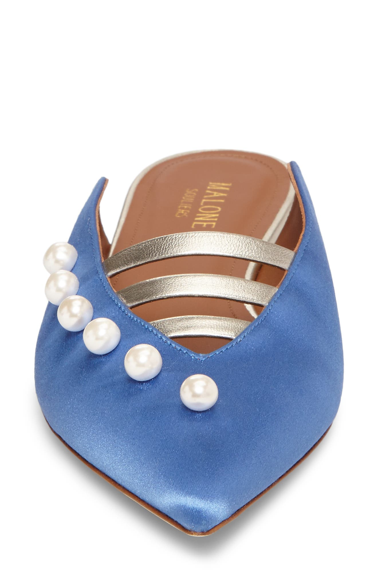 Zelda Imitation Pearl Studded Mule,                             Alternate thumbnail 4, color,                             Blue/ Platino