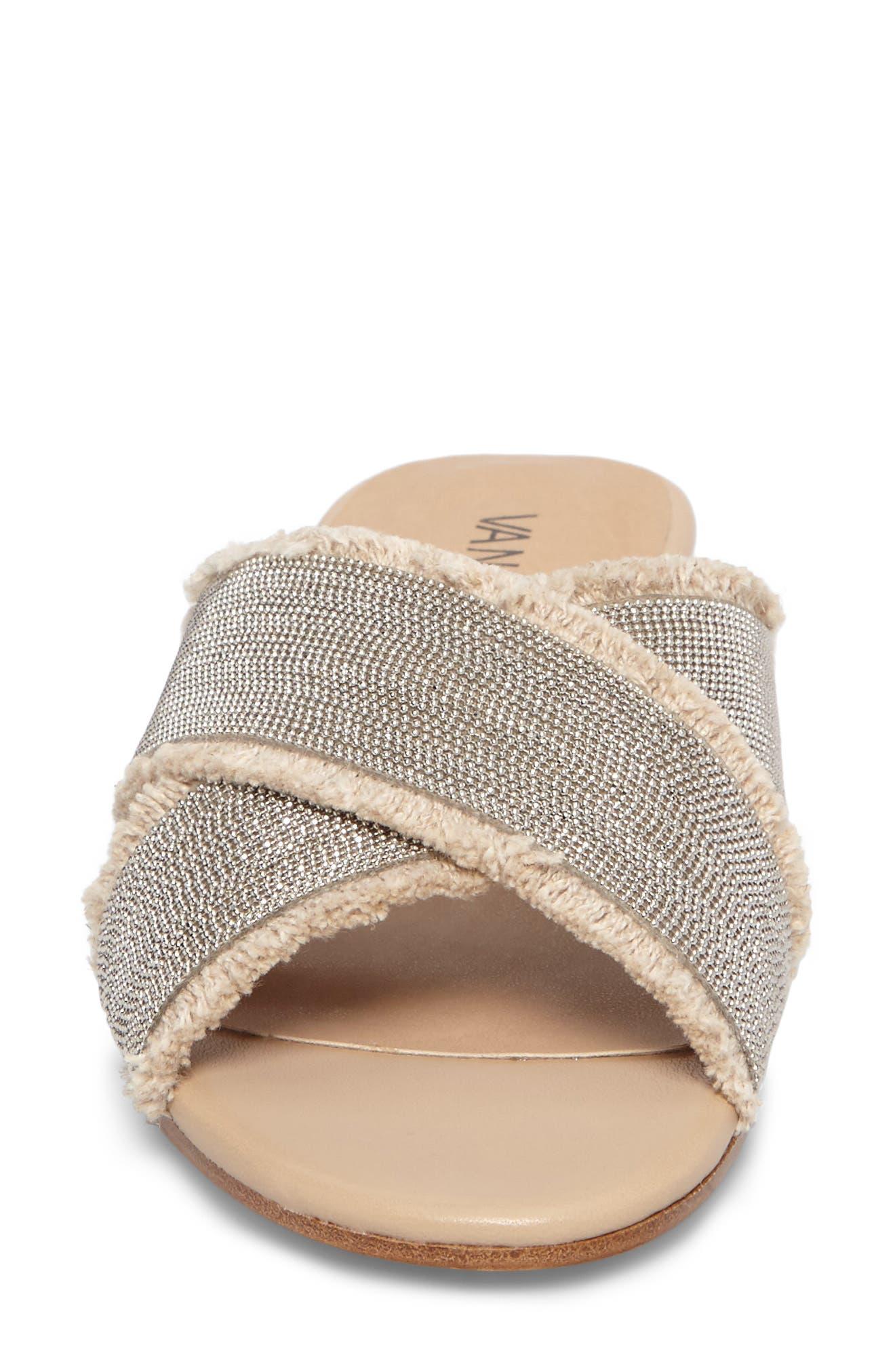 Baret Slide Sandal,                             Alternate thumbnail 4, color,                             Natural Fabric