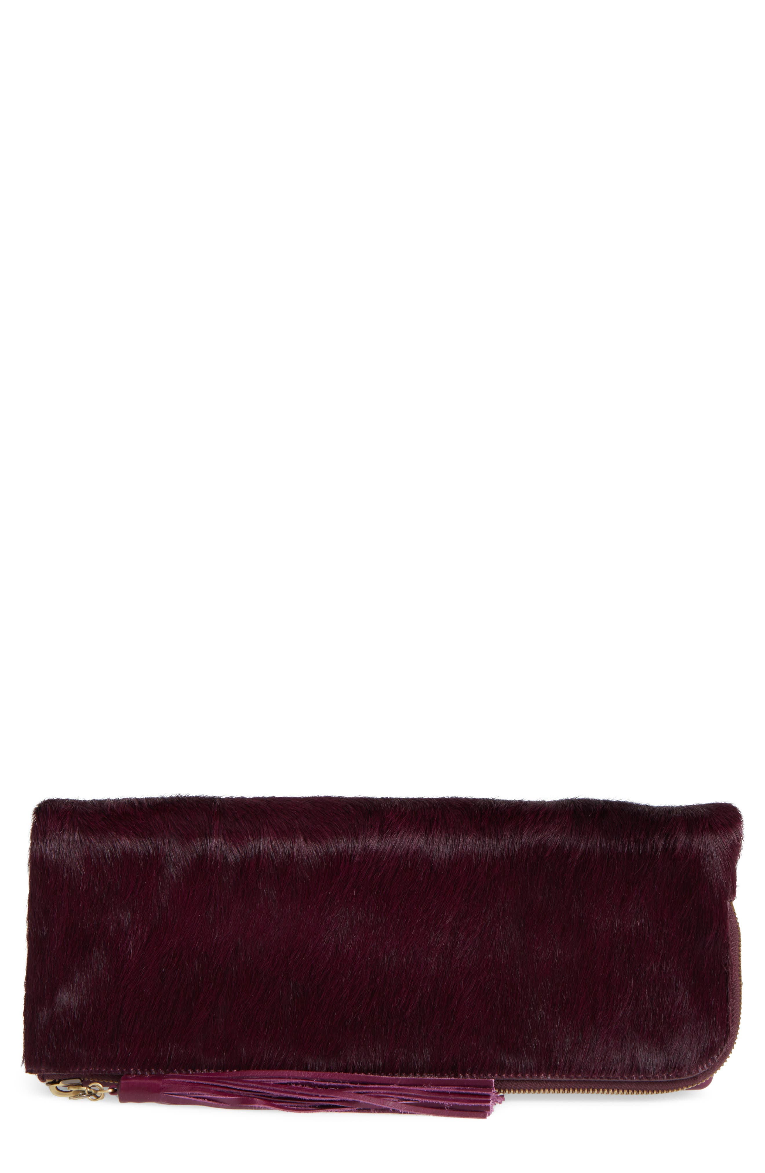 Hobo Raine Leather & Genuine Calf Hair Clutch