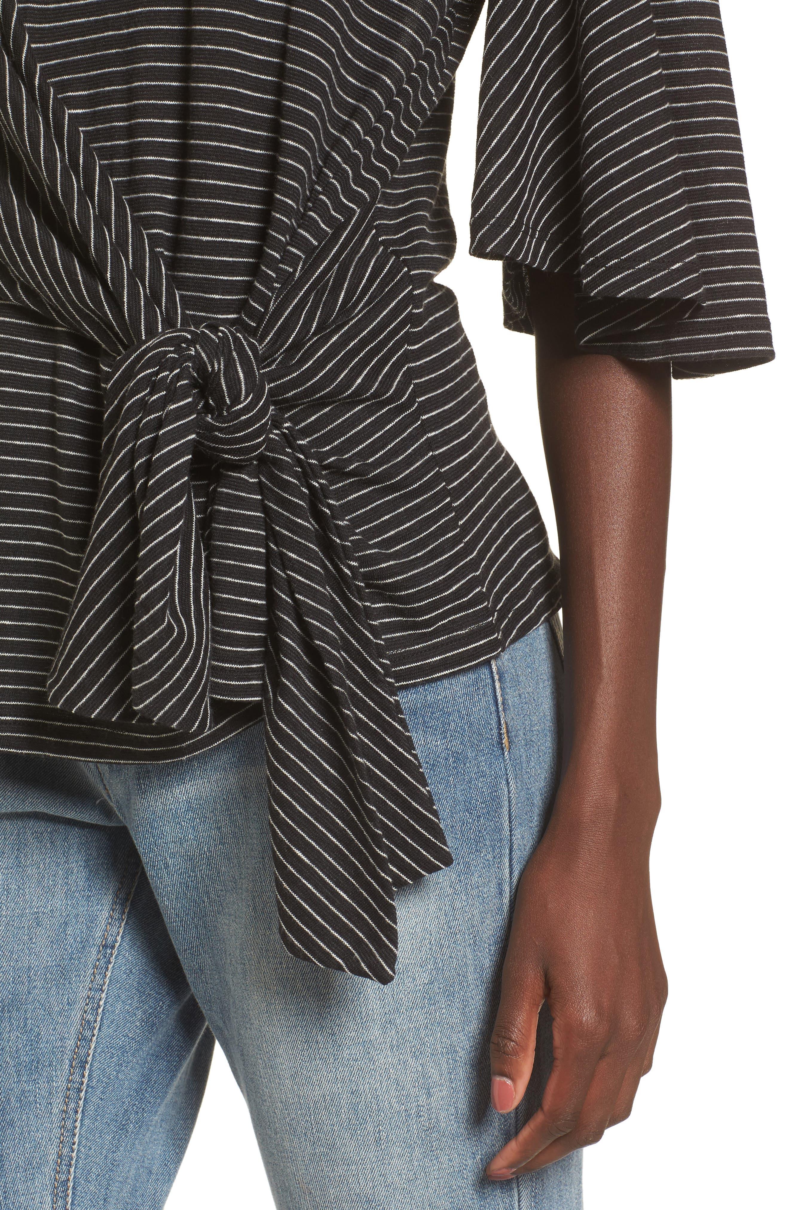 Side Tie Tee,                             Alternate thumbnail 4, color,                             Black Chelsea Stripe