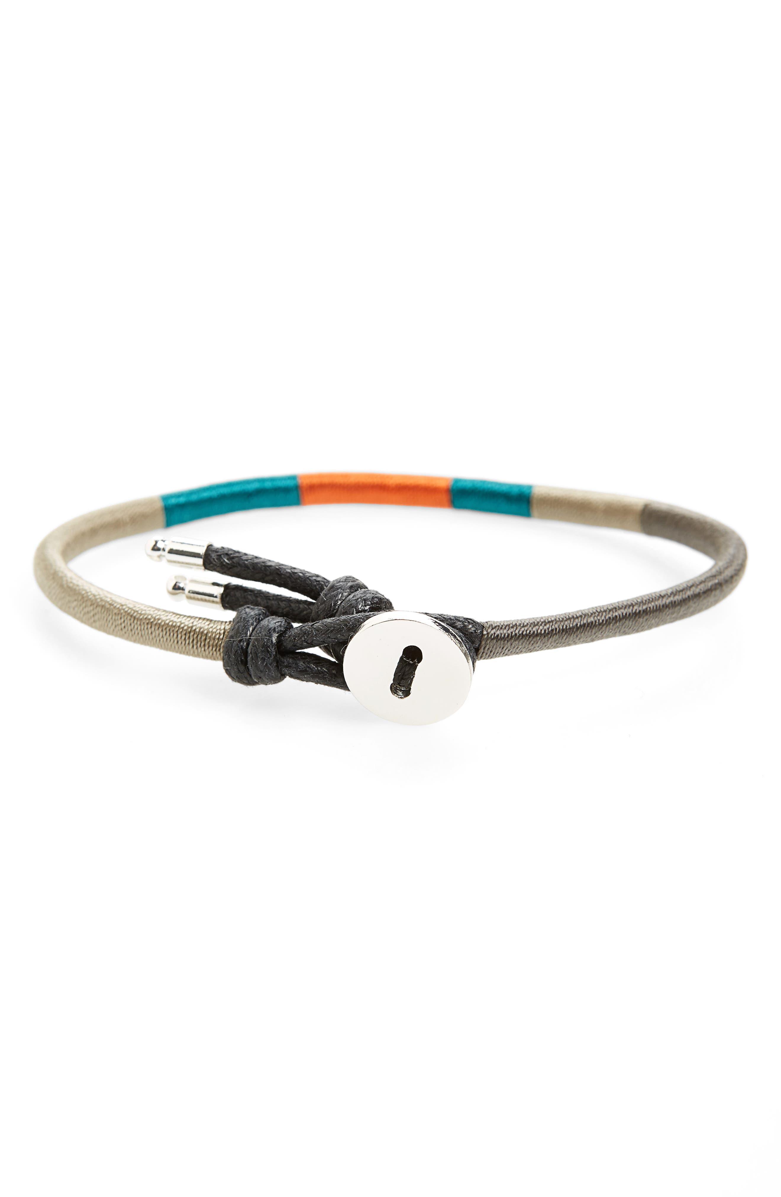 Finn & Taylor Woven Bracelet,                             Main thumbnail 1, color,                             Black/ Grey/ Green/ Orange