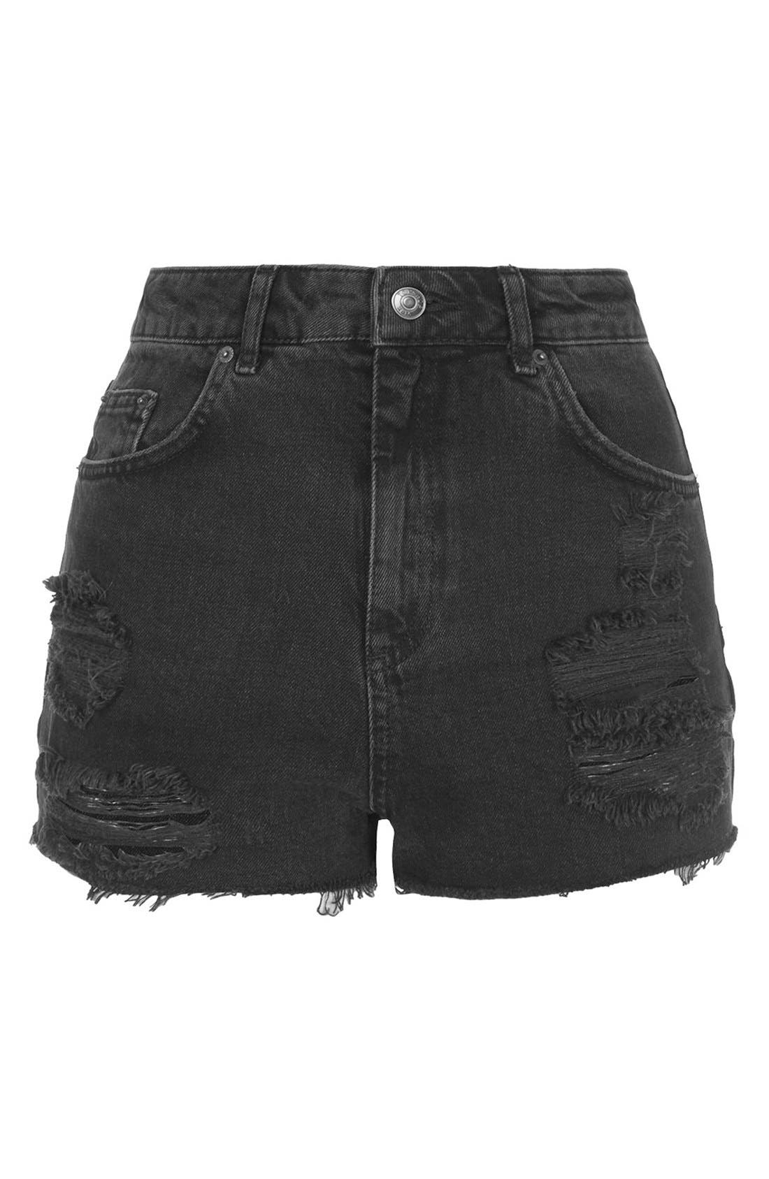 Alternate Image 3  - Topshop Moto Ripped Shorts (Black)