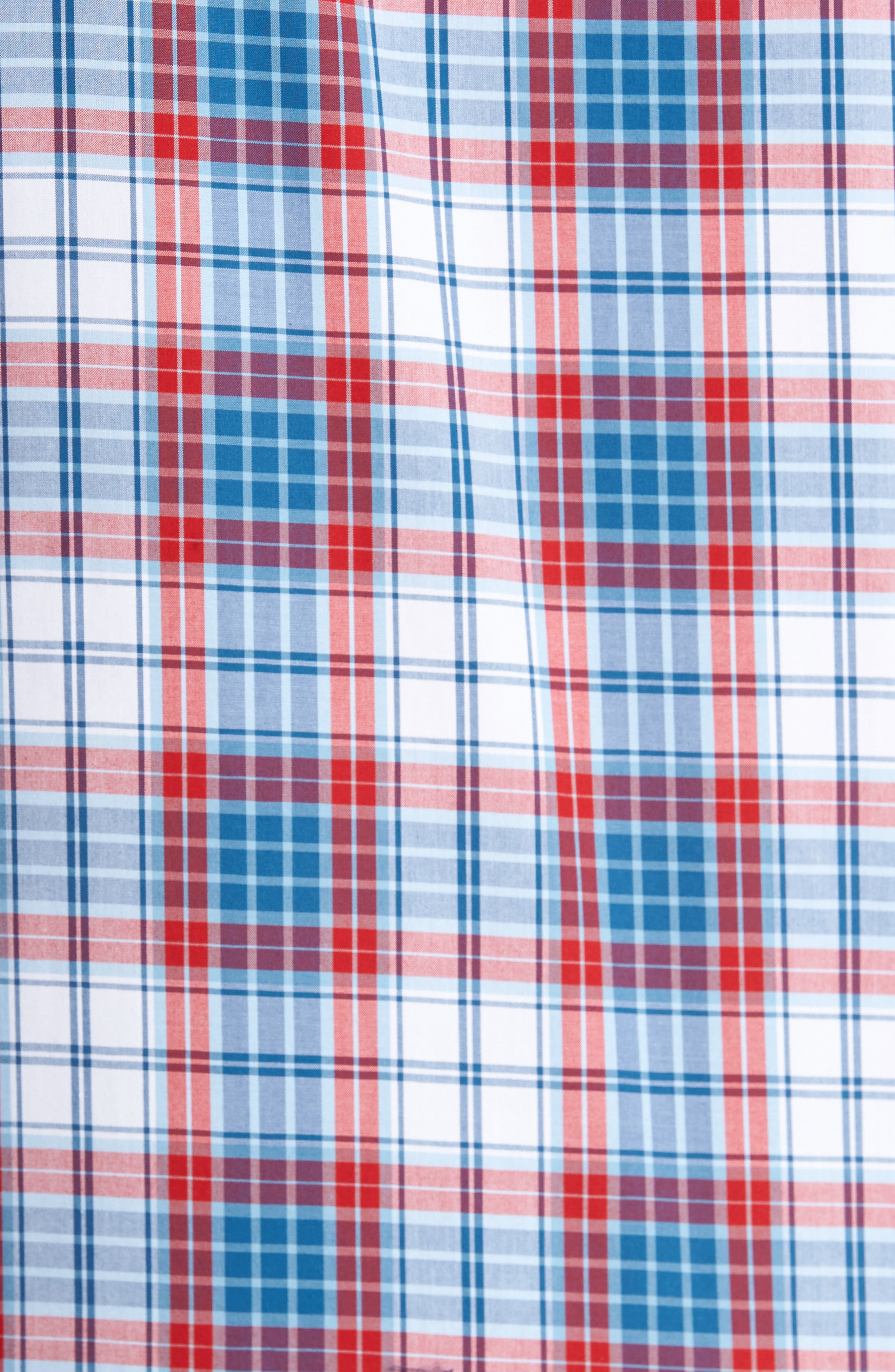 Smartcare<sup>™</sup> Regular Fit Plaid Sport Shirt,                             Alternate thumbnail 5, color,                             White Red Heather Tartan