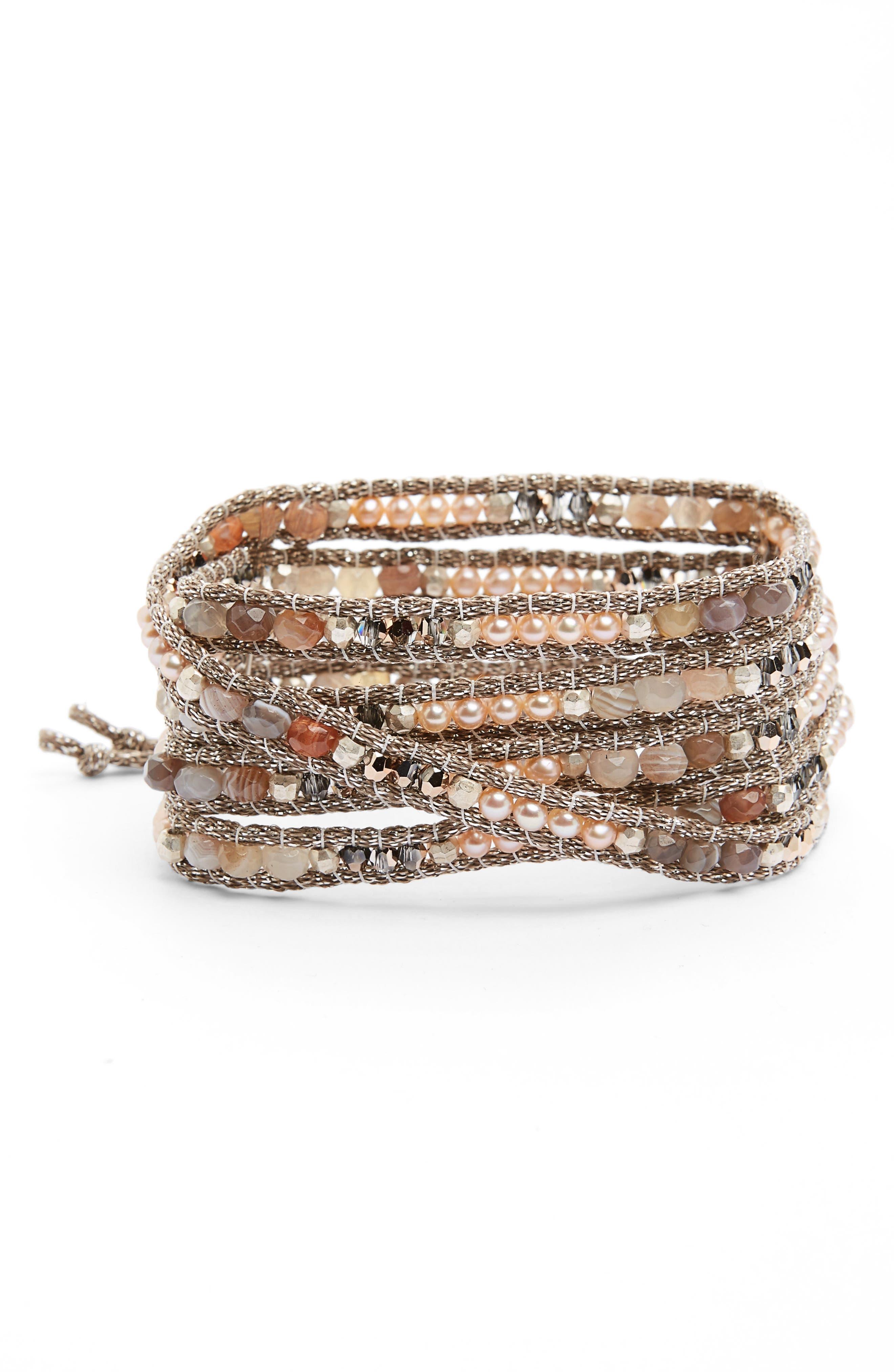 Chan Luu Agate & Freshwater Pearl Wrap Bracelet