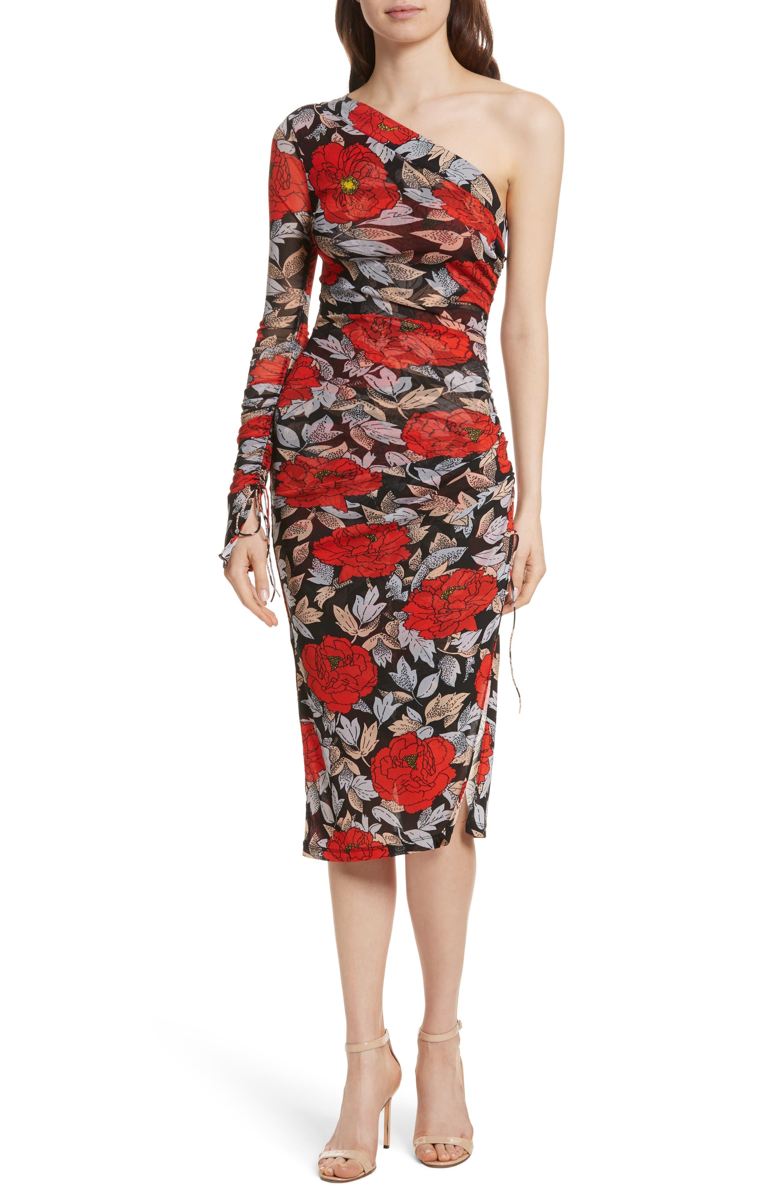 Diane von Furstenberg Ruched One-Shoulder Dress,                             Main thumbnail 1, color,                             Boswell Black