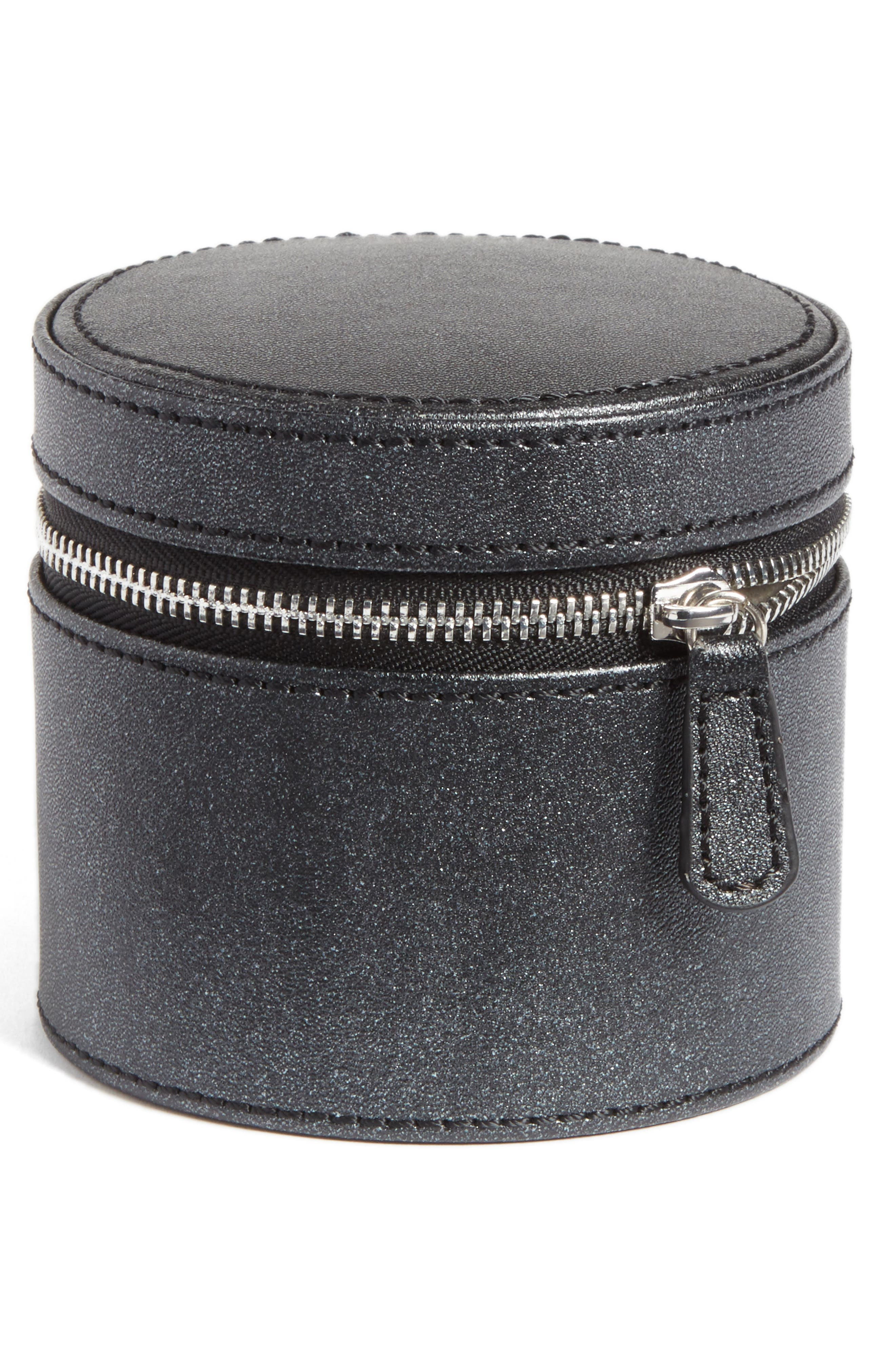 Small Round Zippered Jewelry Case,                             Main thumbnail 1, color,                             Black