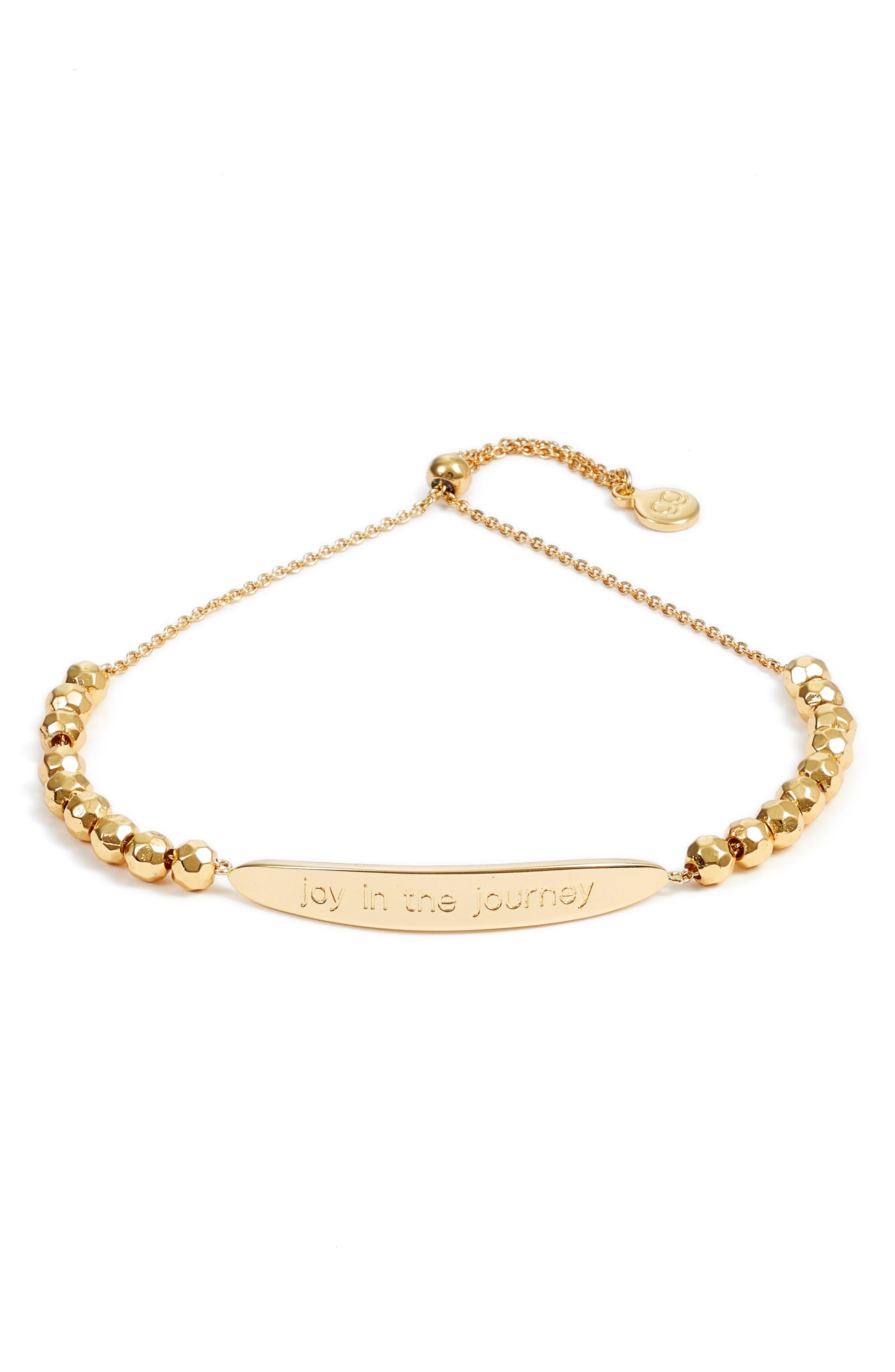 Power Intention Joy in the Journey Adjustable Bracelet,                         Main,                         color, Gold