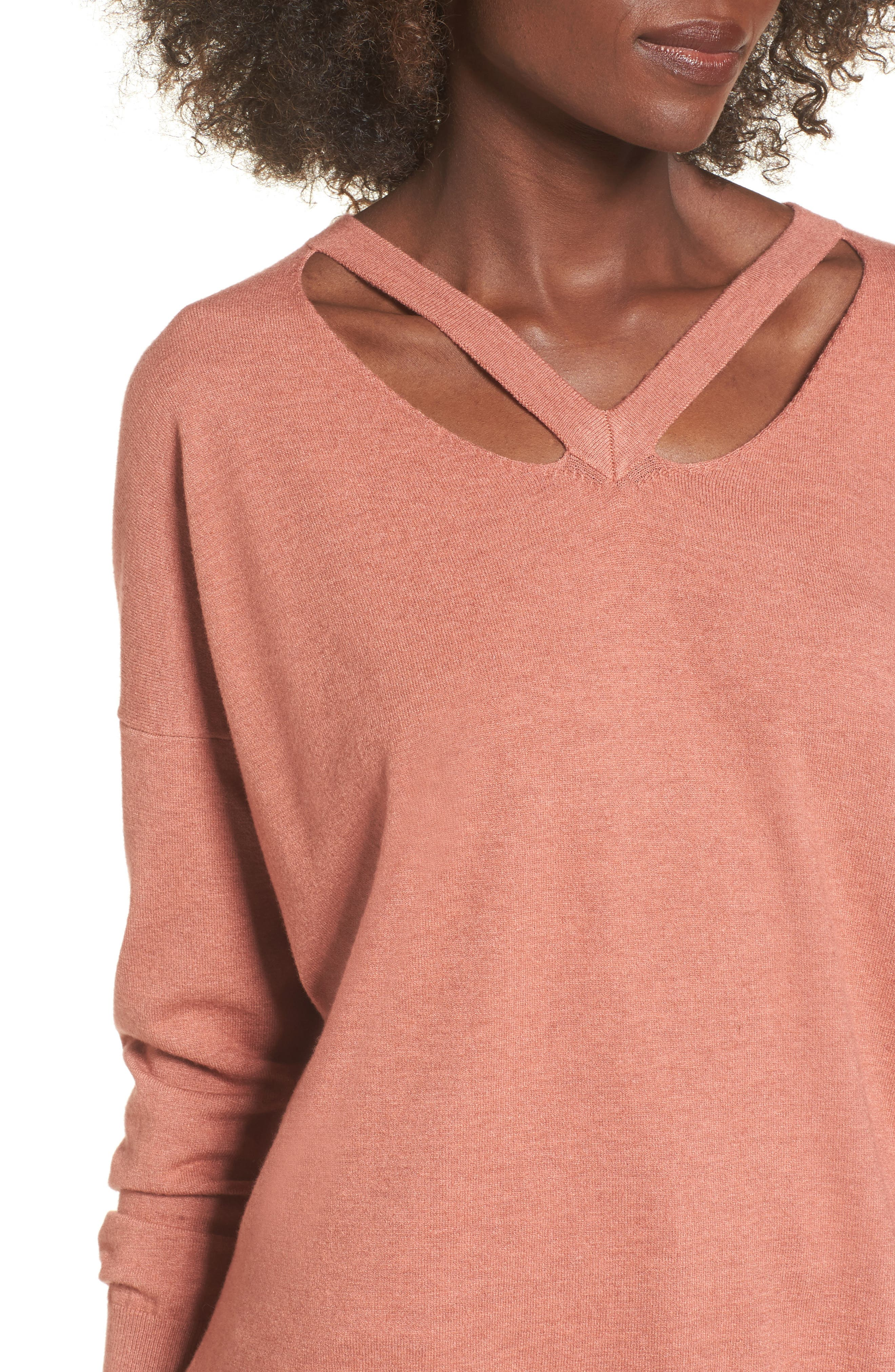 Cutout Detail Sweater,                             Alternate thumbnail 4, color,                             Heather Coral
