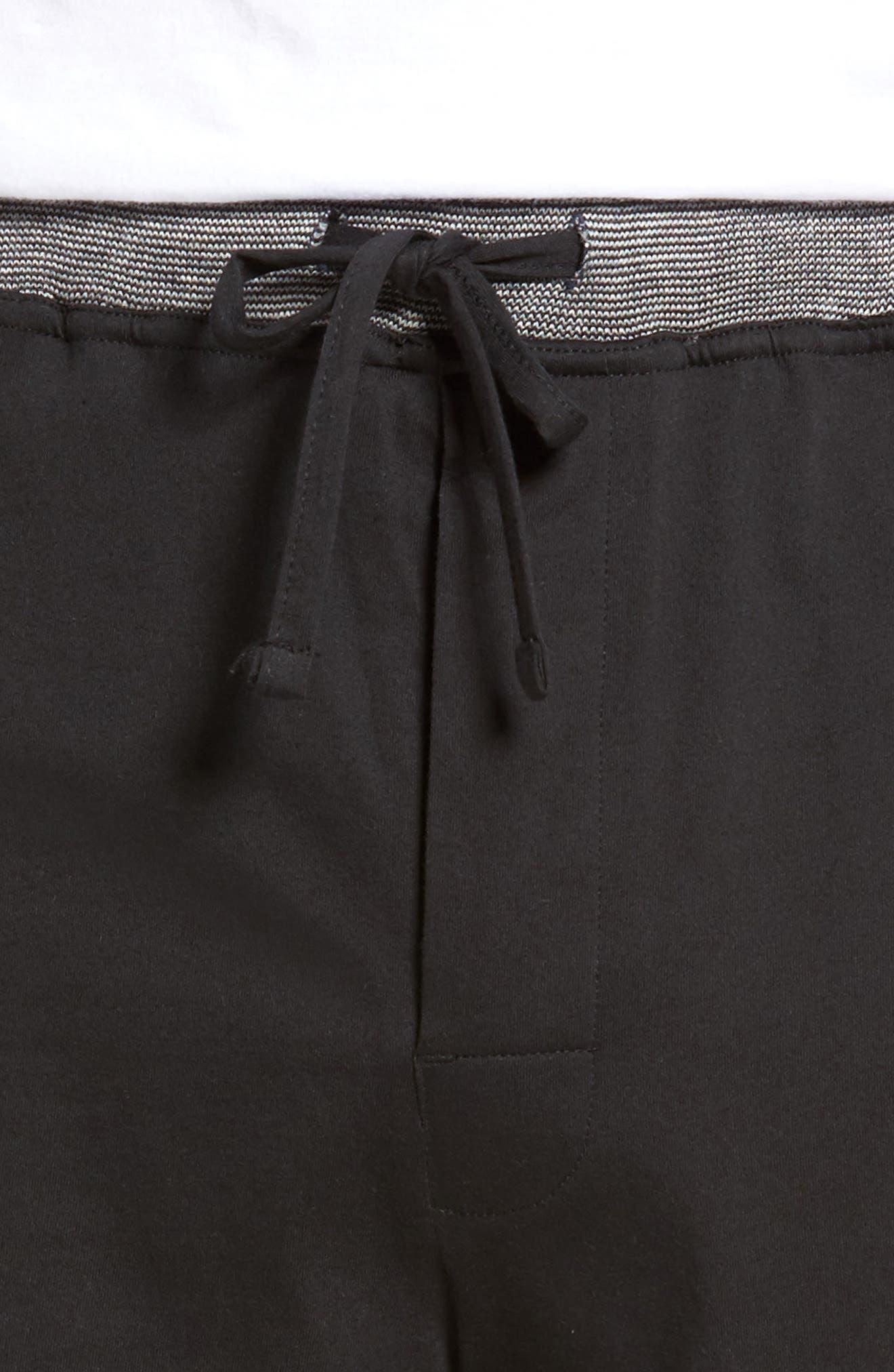 Cotton Lounge Shorts,                             Alternate thumbnail 4, color,                             Solid Black