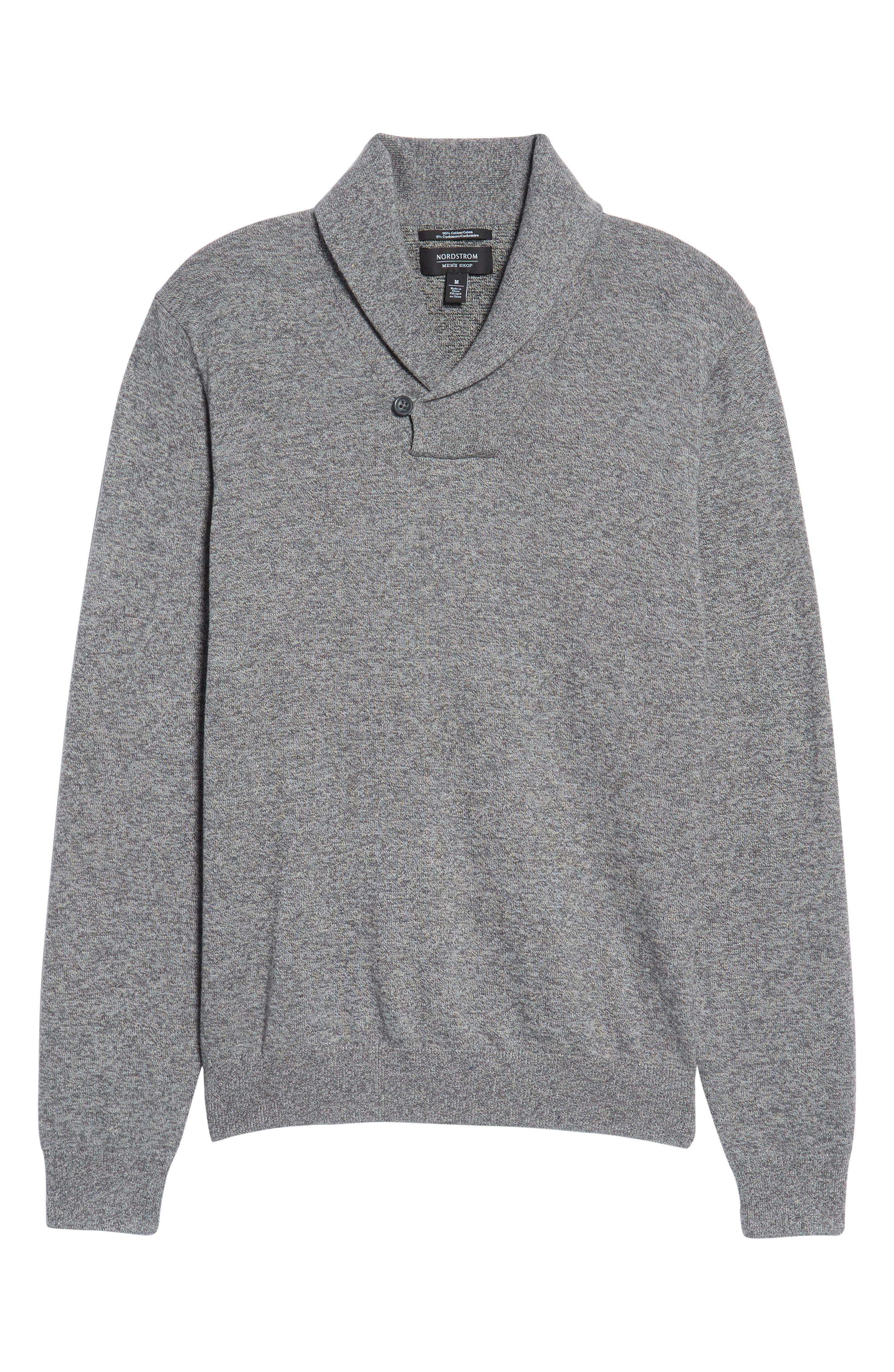 Alternate Image 6  - Nordstrom Men's Shop Cotton & Cashmere Shawl Collar Sweater (Regular & Tall)