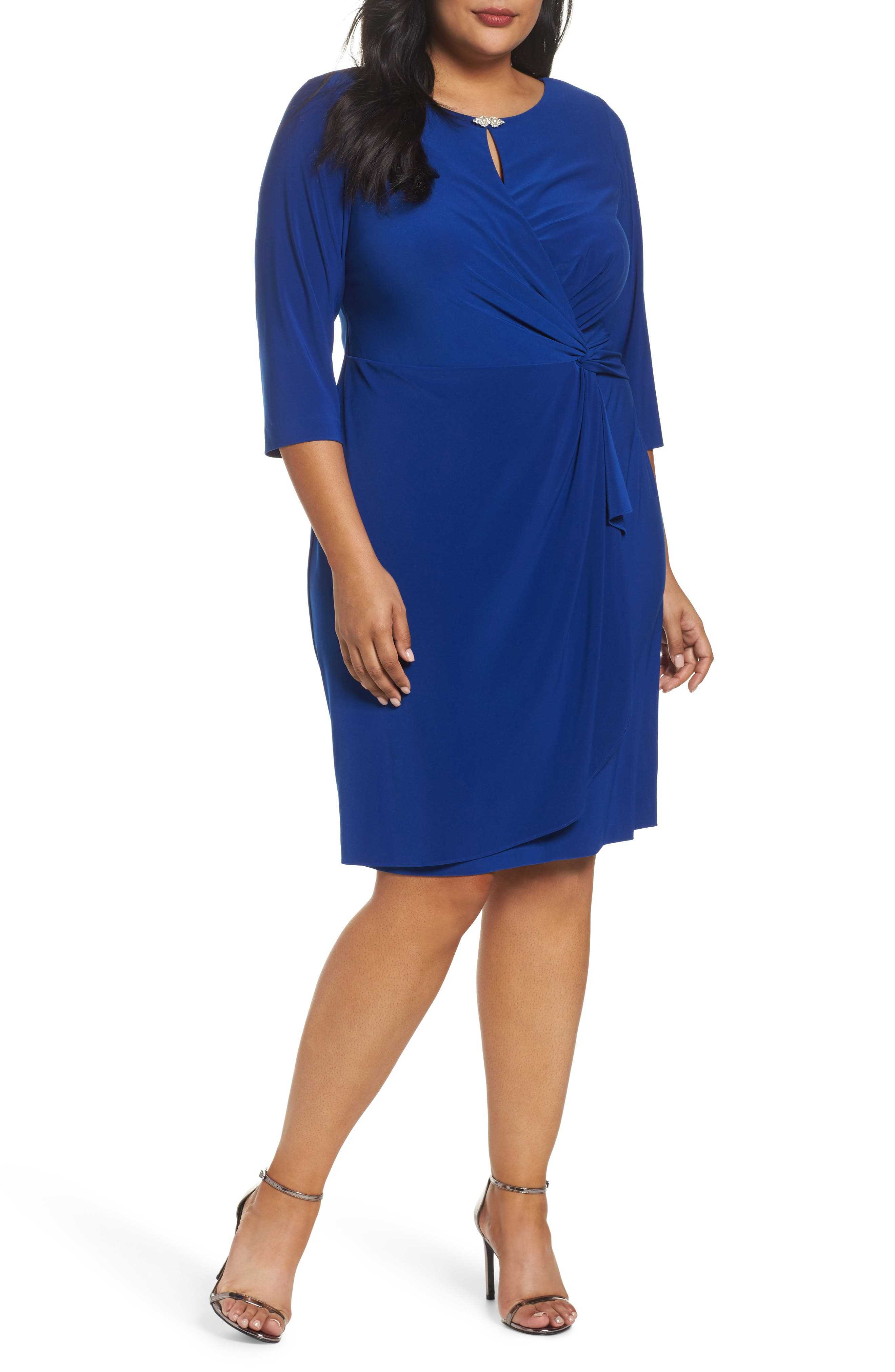 Alex Evenings Embellished Knot Front Dress (Plus Size)