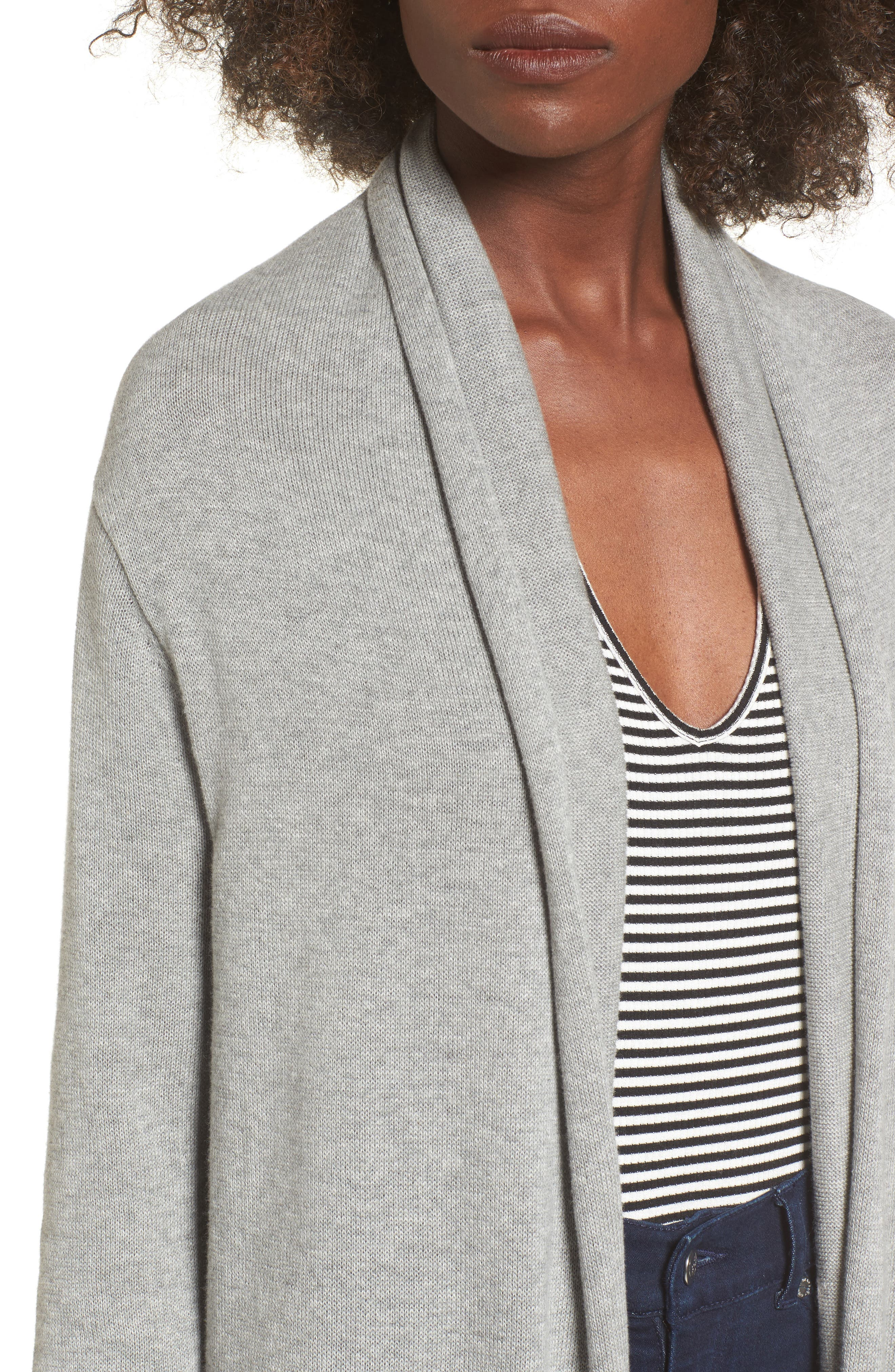 Cocoon Cardigan,                             Alternate thumbnail 4, color,                             Grey Medium Heather