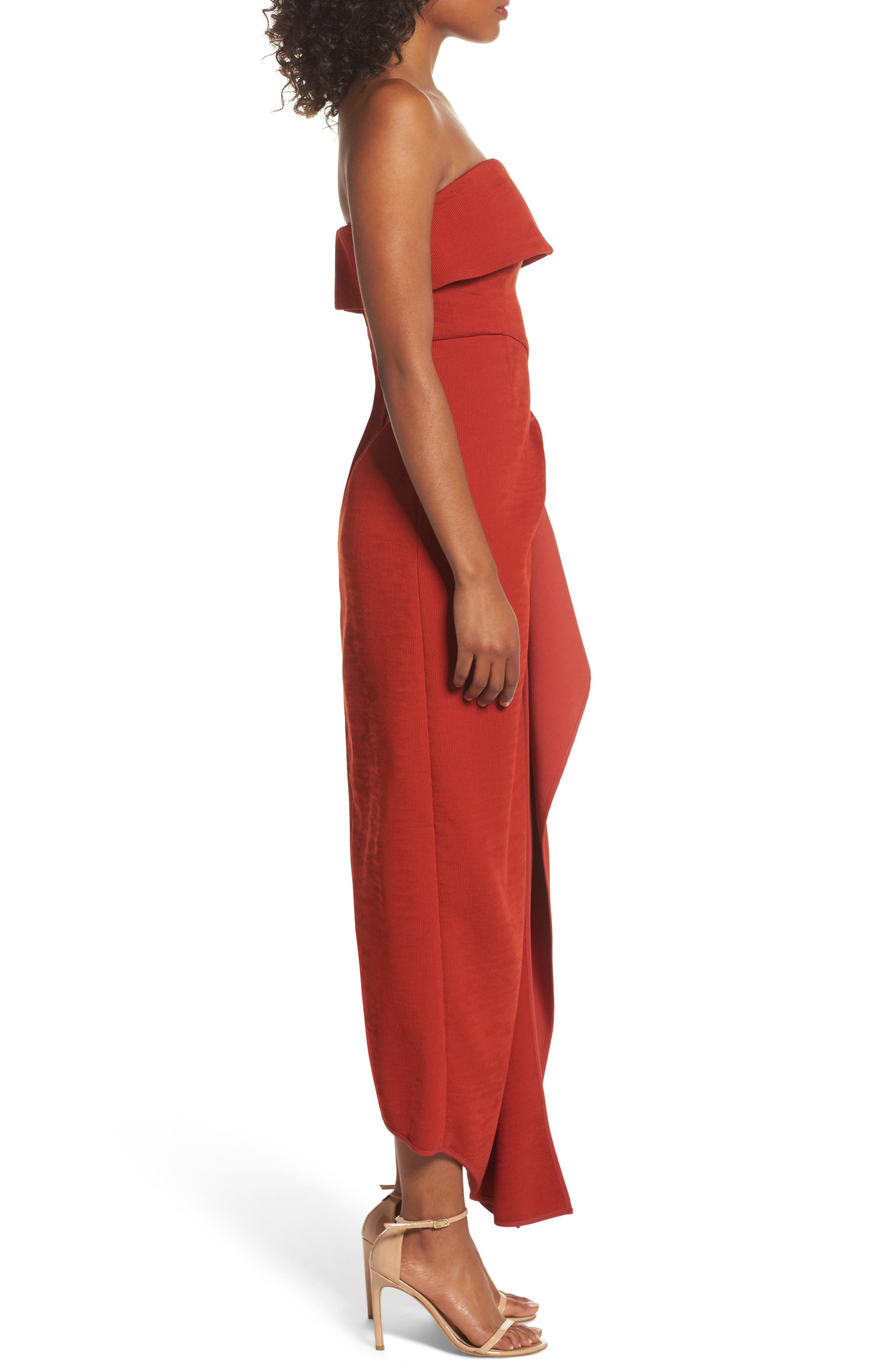 Fluidity Strapless Maxi Dress,                             Alternate thumbnail 4, color,                             Red