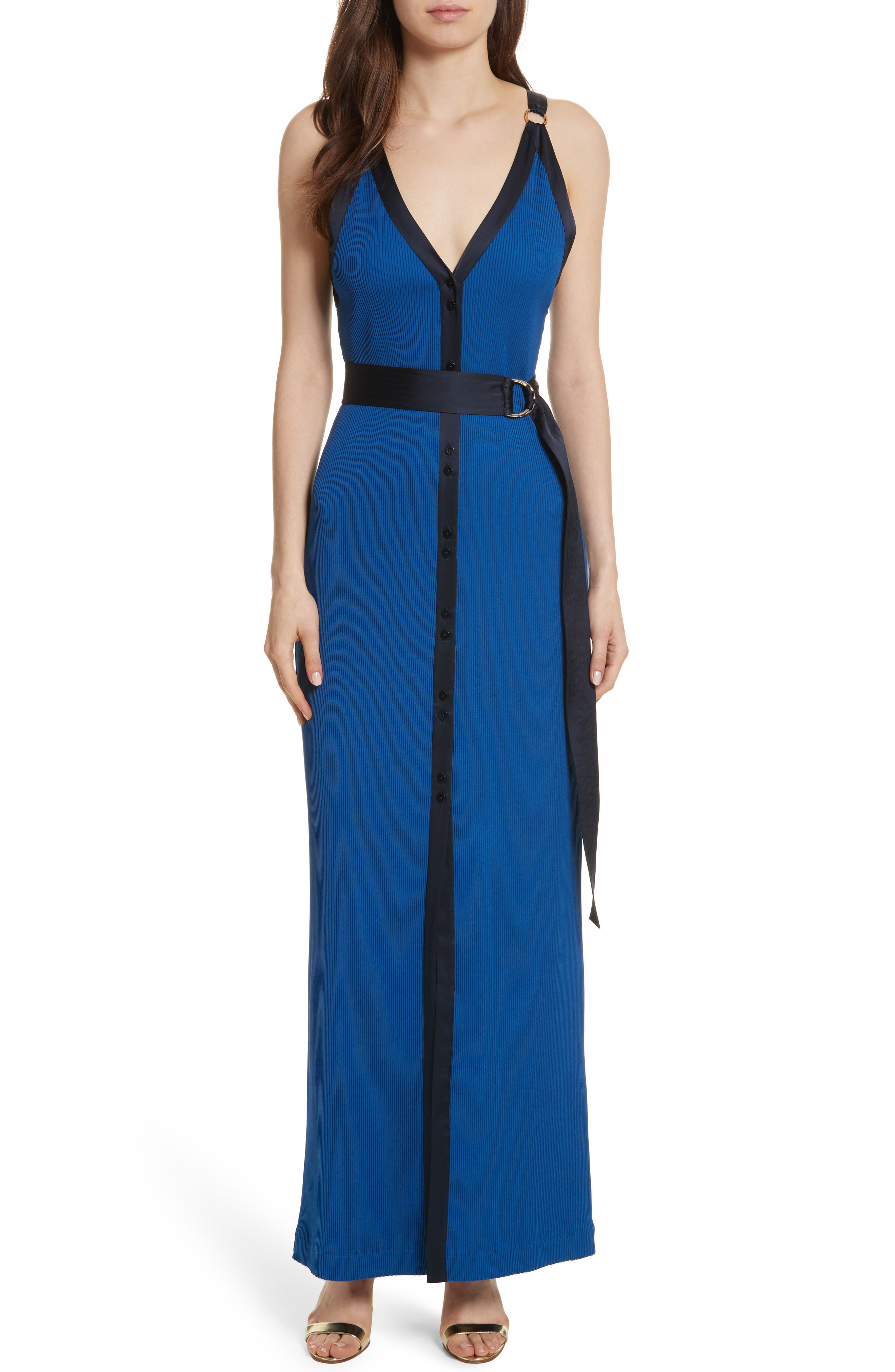 Diane von Furstenberg Ribbed Jersey Maxi Dress,                         Main,                         color, Cove/ Alexander Navy