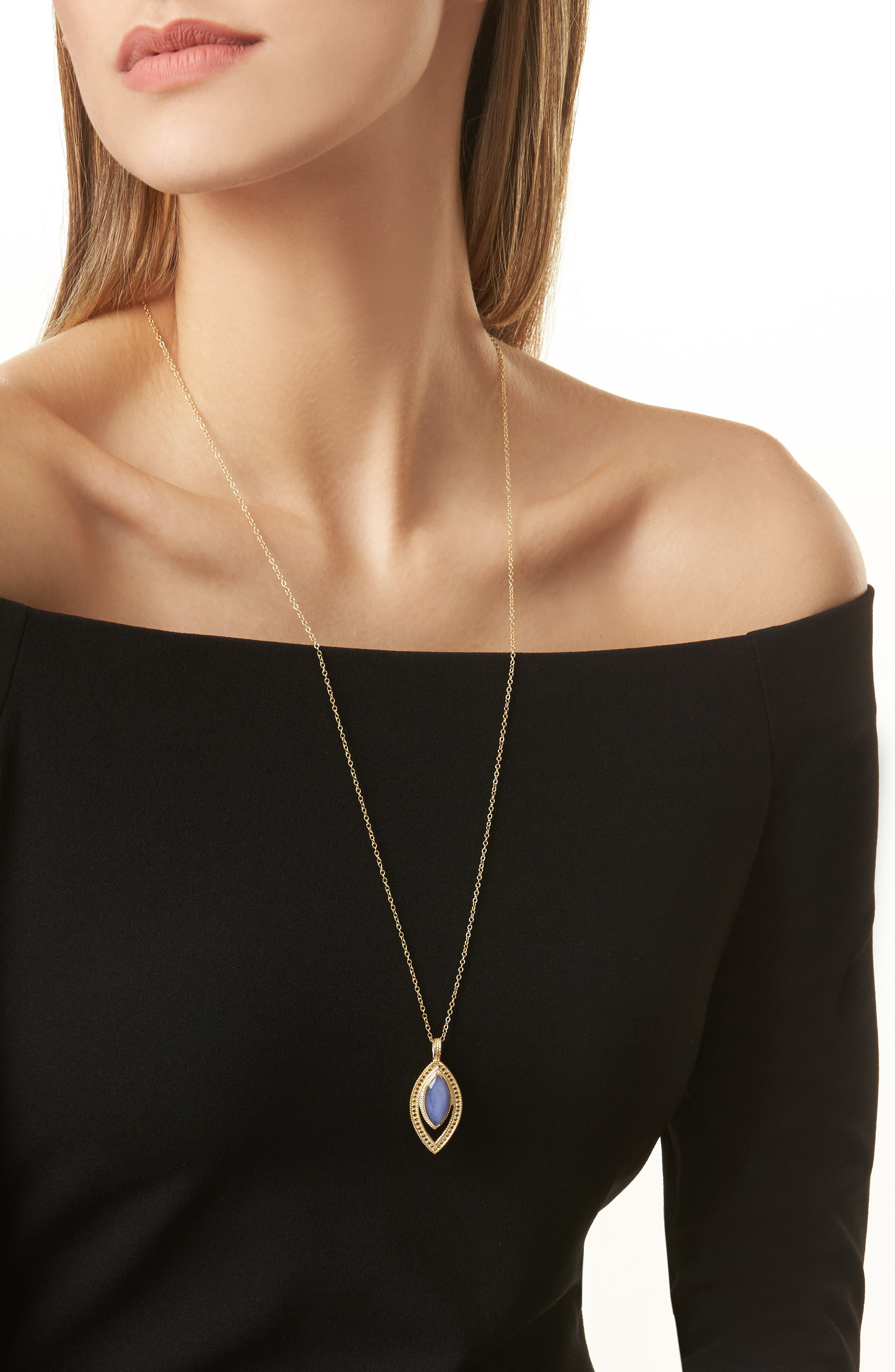 Chalcedony Doublet Pendant Necklace,                             Alternate thumbnail 2, color,                             Gold/ Blue Chalcedony