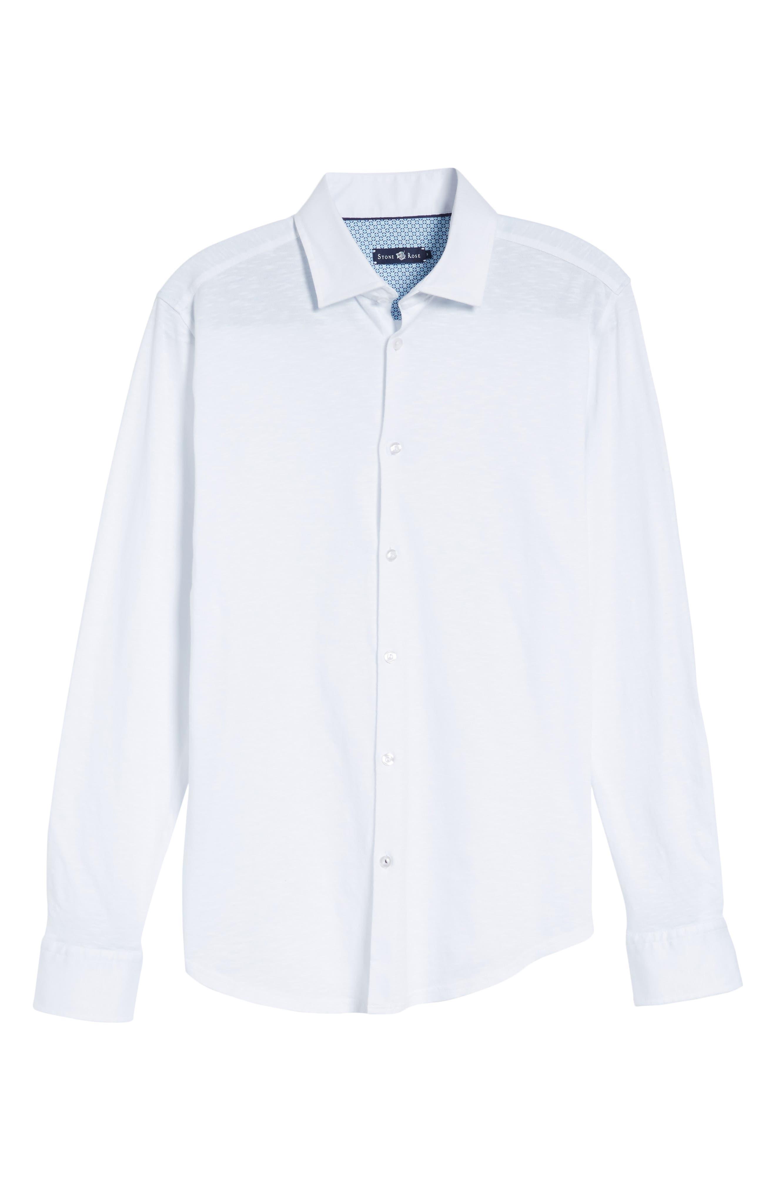 Slub Knit Sport Shirt,                             Alternate thumbnail 6, color,                             White