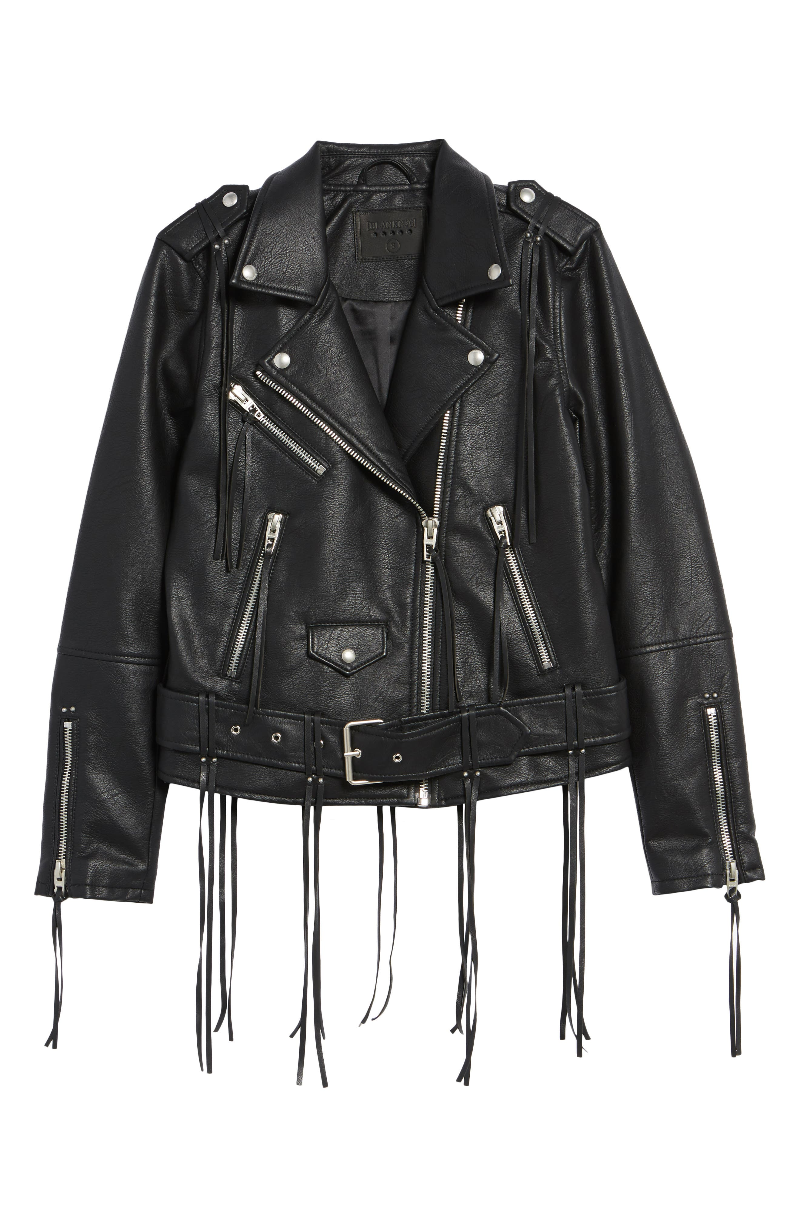 Faux Leather Tassel Moto Jacket,                             Alternate thumbnail 6, color,                             City Slicker