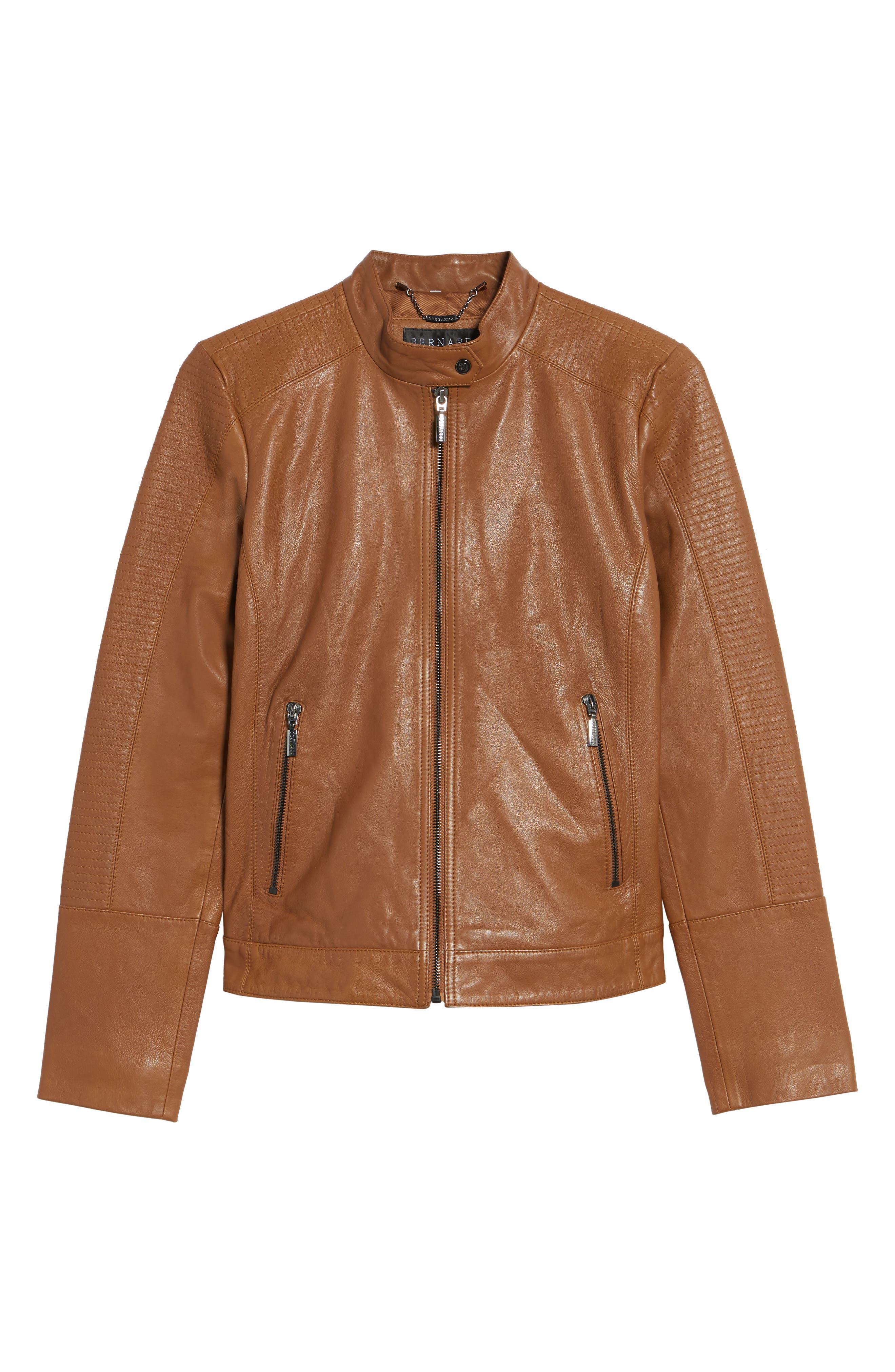 Kirwin Leather Moto Jacket,                             Alternate thumbnail 6, color,                             Pecan