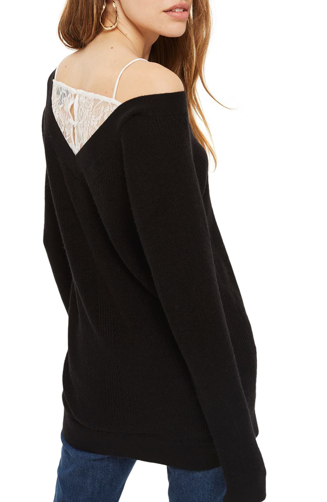Lace Camisole Detail Sweater,                             Alternate thumbnail 2, color,                             Black Multi