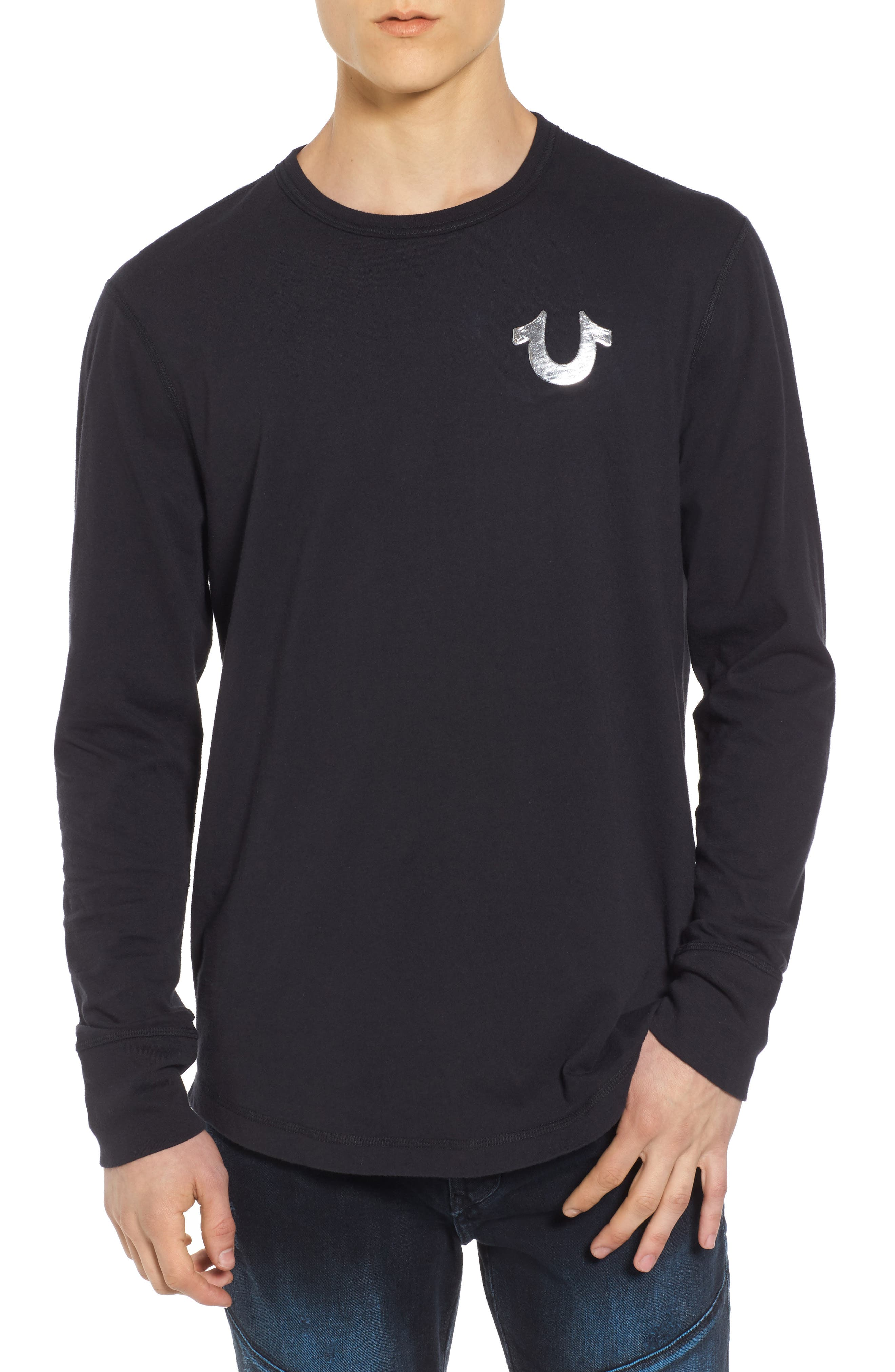 True Religion Core Metallic T-Shirt,                         Main,                         color, Black W/ Silver