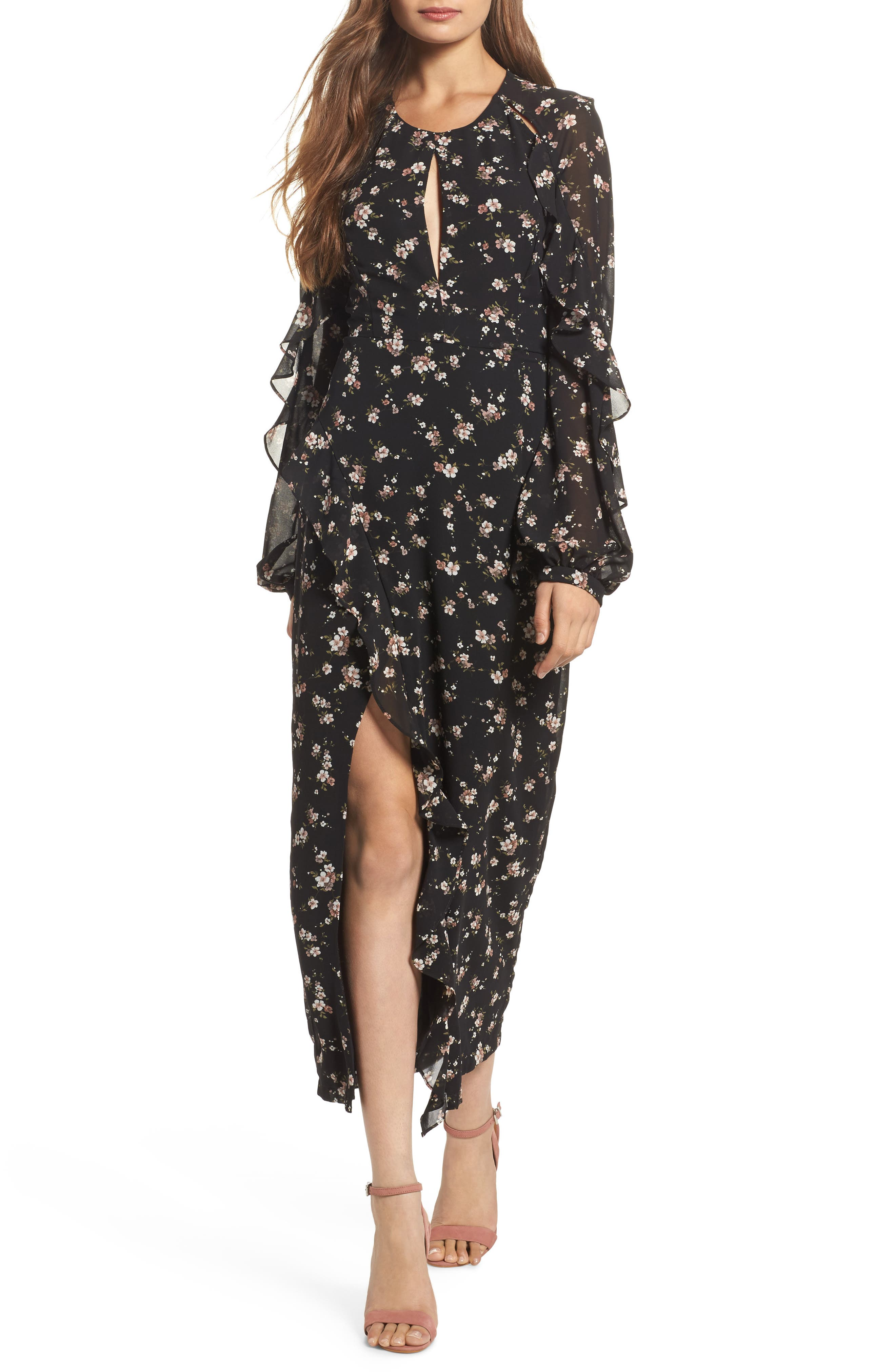 Natalia Midi Dress,                         Main,                         color, Floral