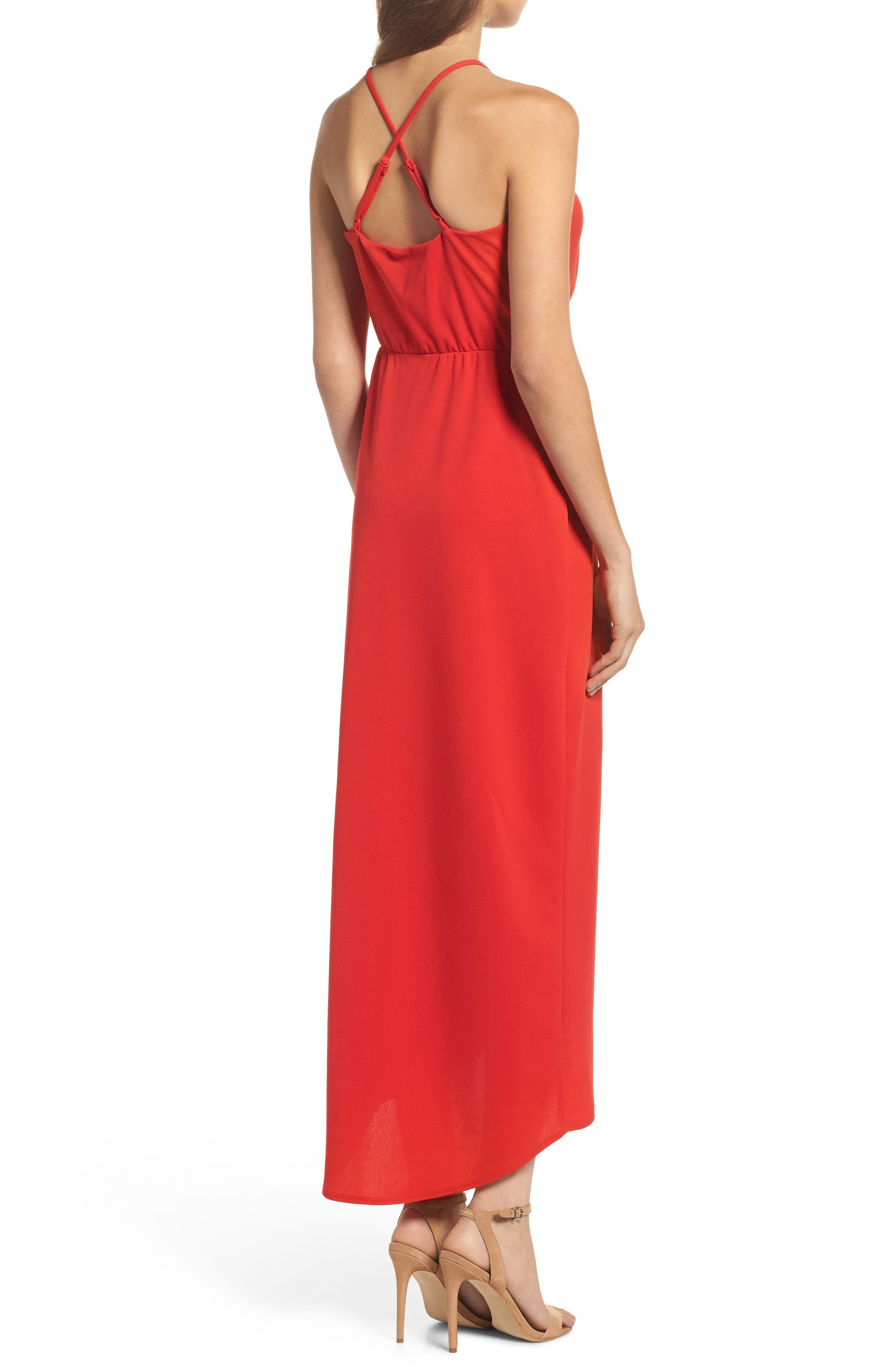 High/Low Slipdress,                             Alternate thumbnail 2, color,                             Red