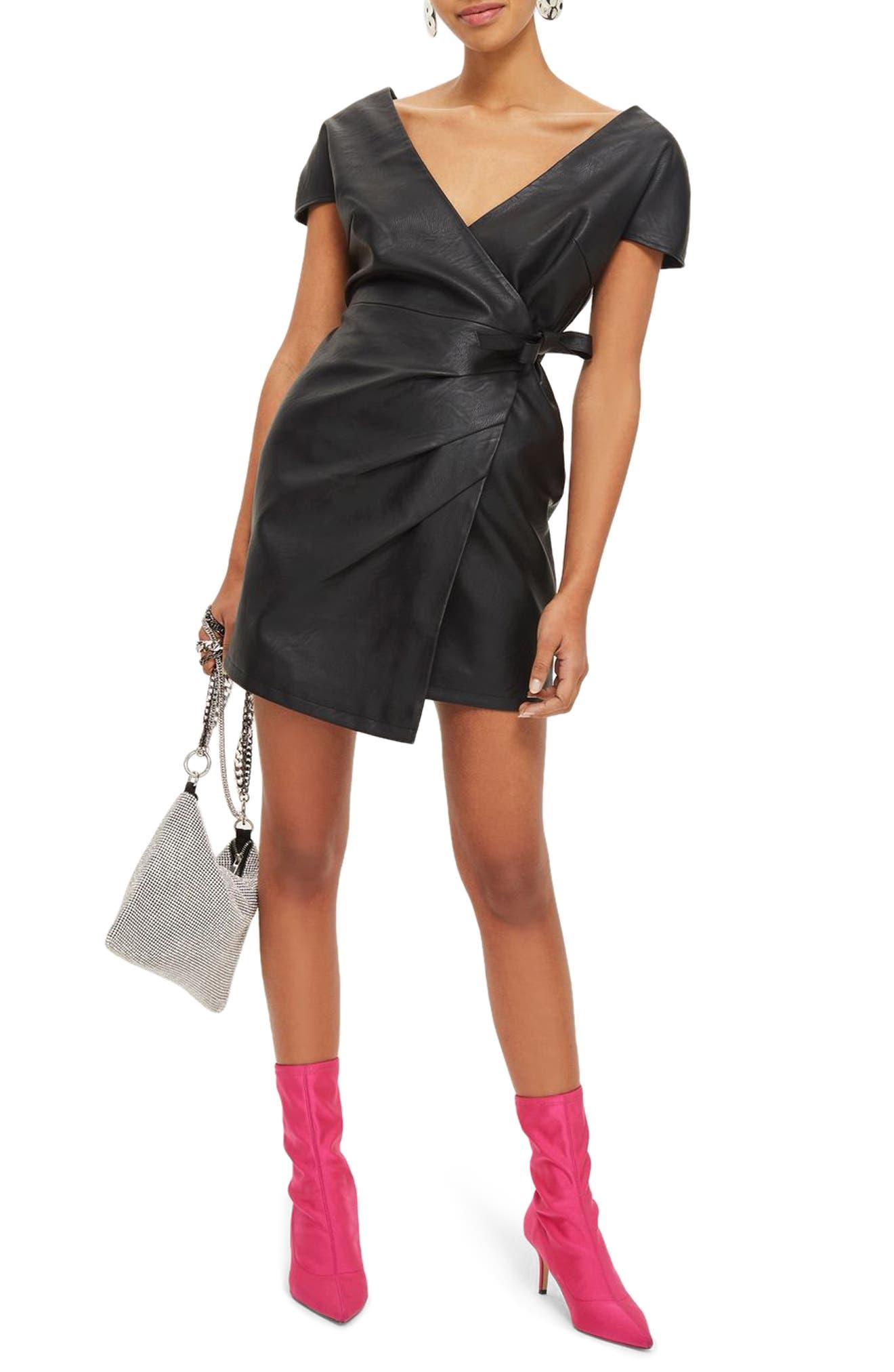 Faux Leather Wrap Dress,                             Alternate thumbnail 5, color,                             Black