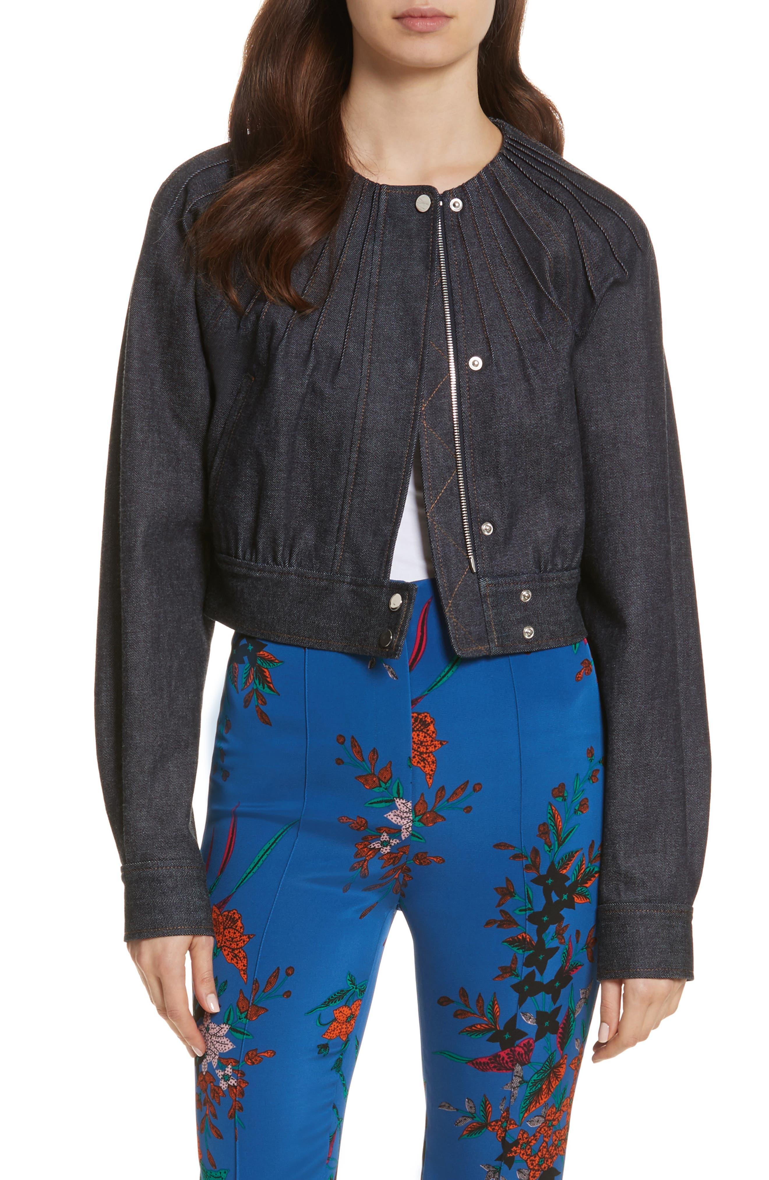 Diane von Furstenberg Pintuck Denim Jacket,                             Main thumbnail 1, color,                             Indigo