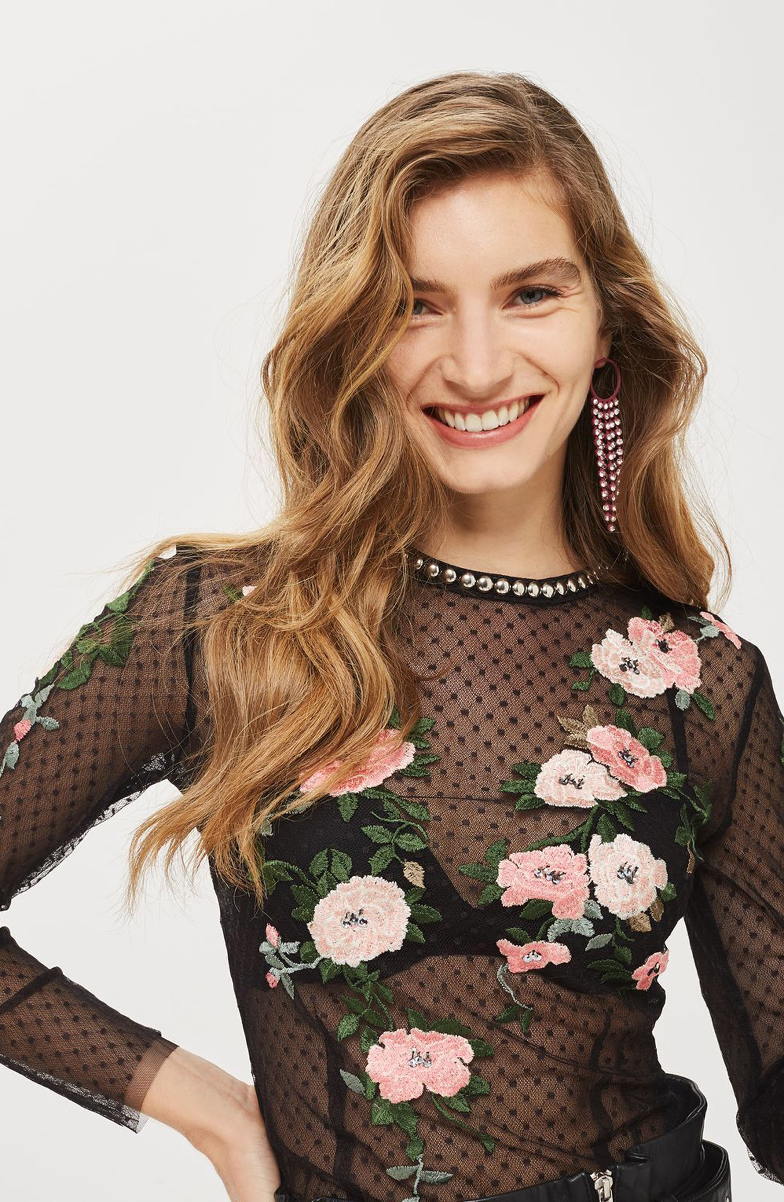 Alternate Image 3  - Topshop Embroidered Mesh Top