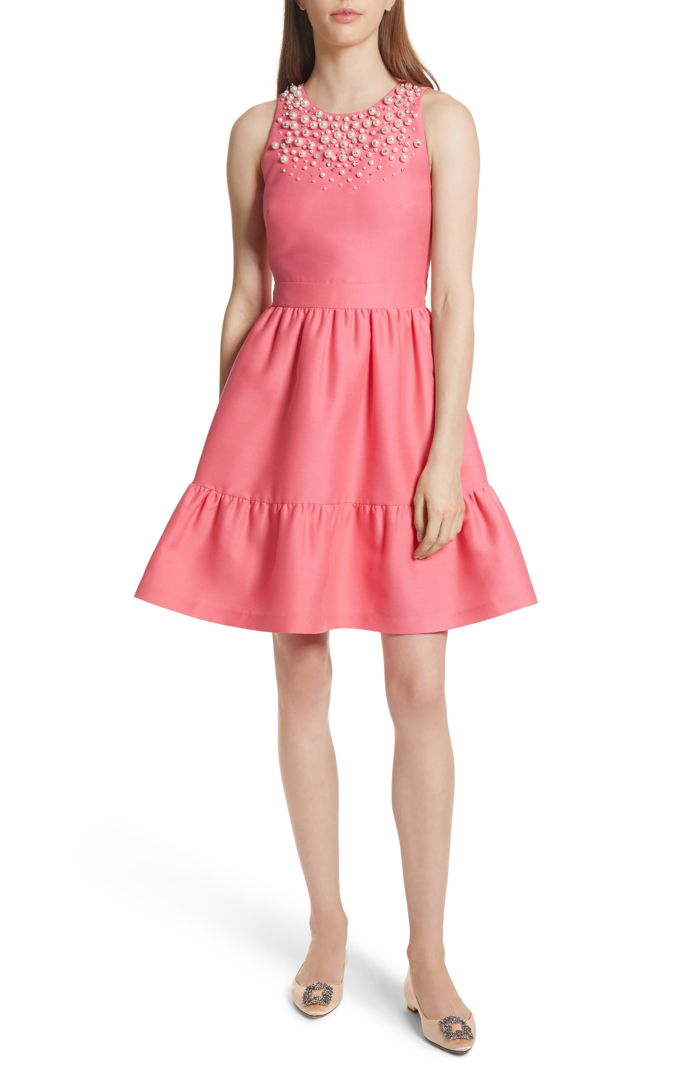 embellished mikado fit-and-flare dress,                         Main,                         color, Petunia