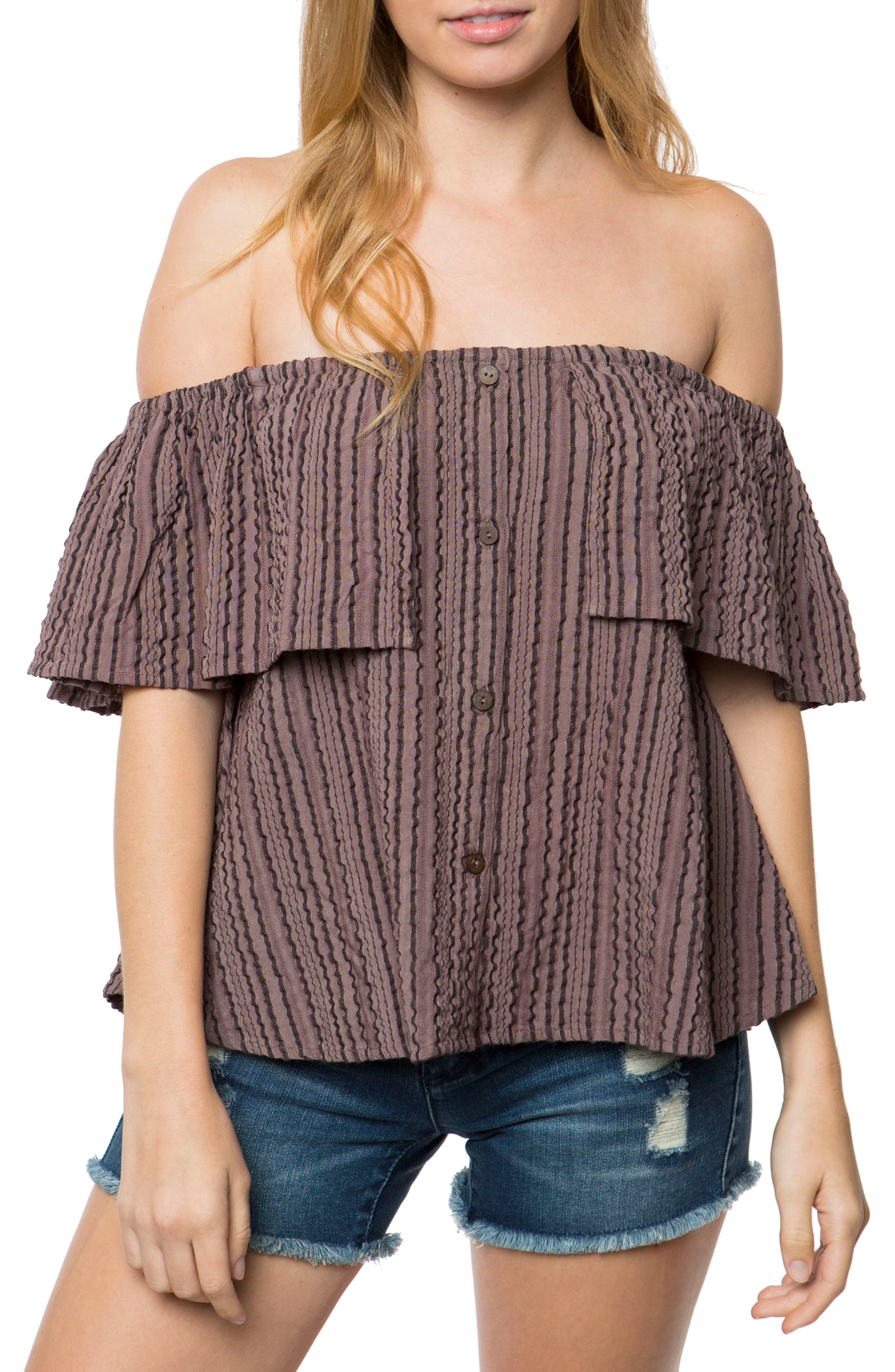 Alternate Image 1 Selected - O'Neill Winona Off the Shoulder Ruffle Top