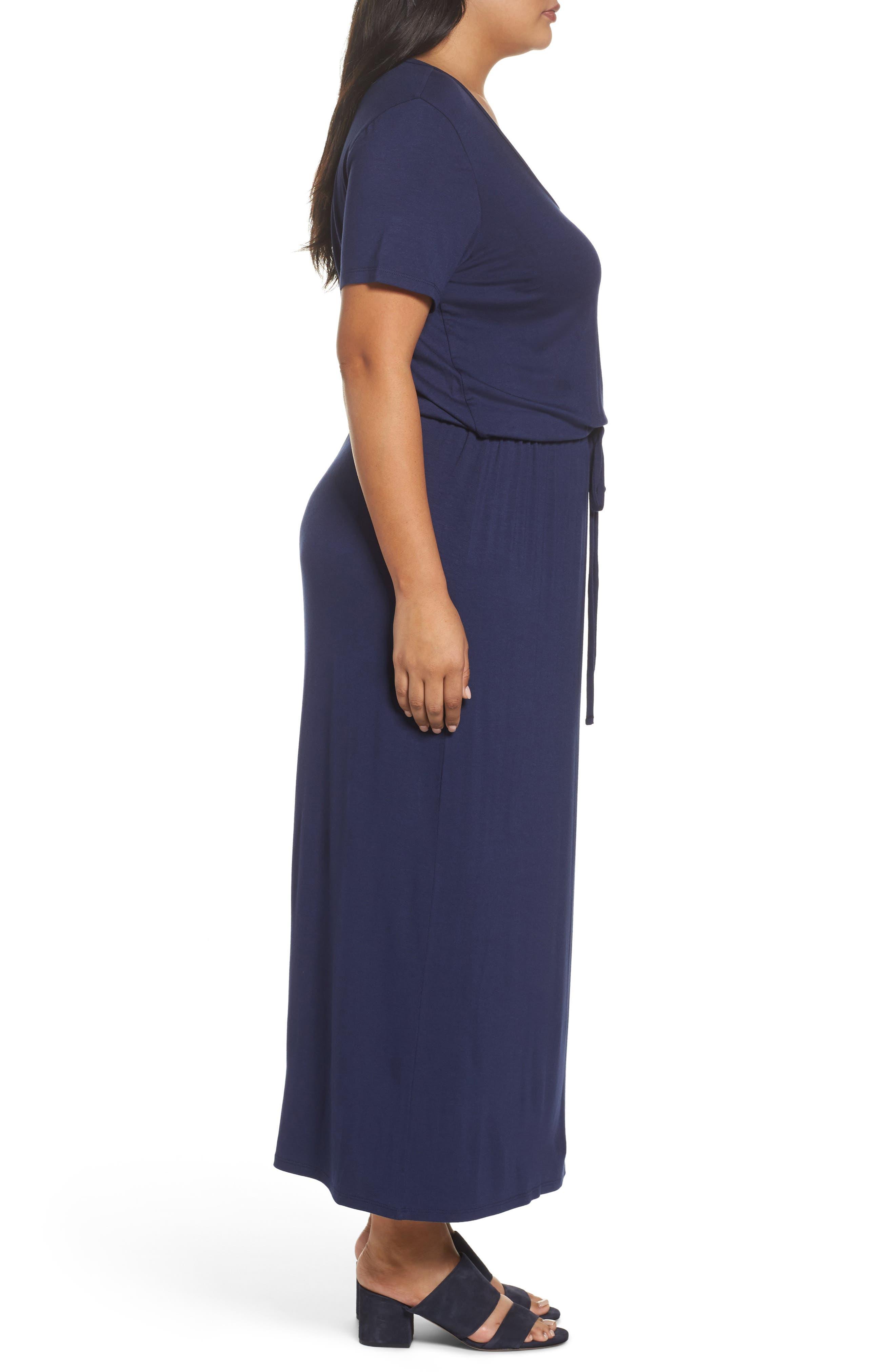 Alternate Image 3  - Caslon® Knit Drawstring Waist Maxi Dress (Plus Size)
