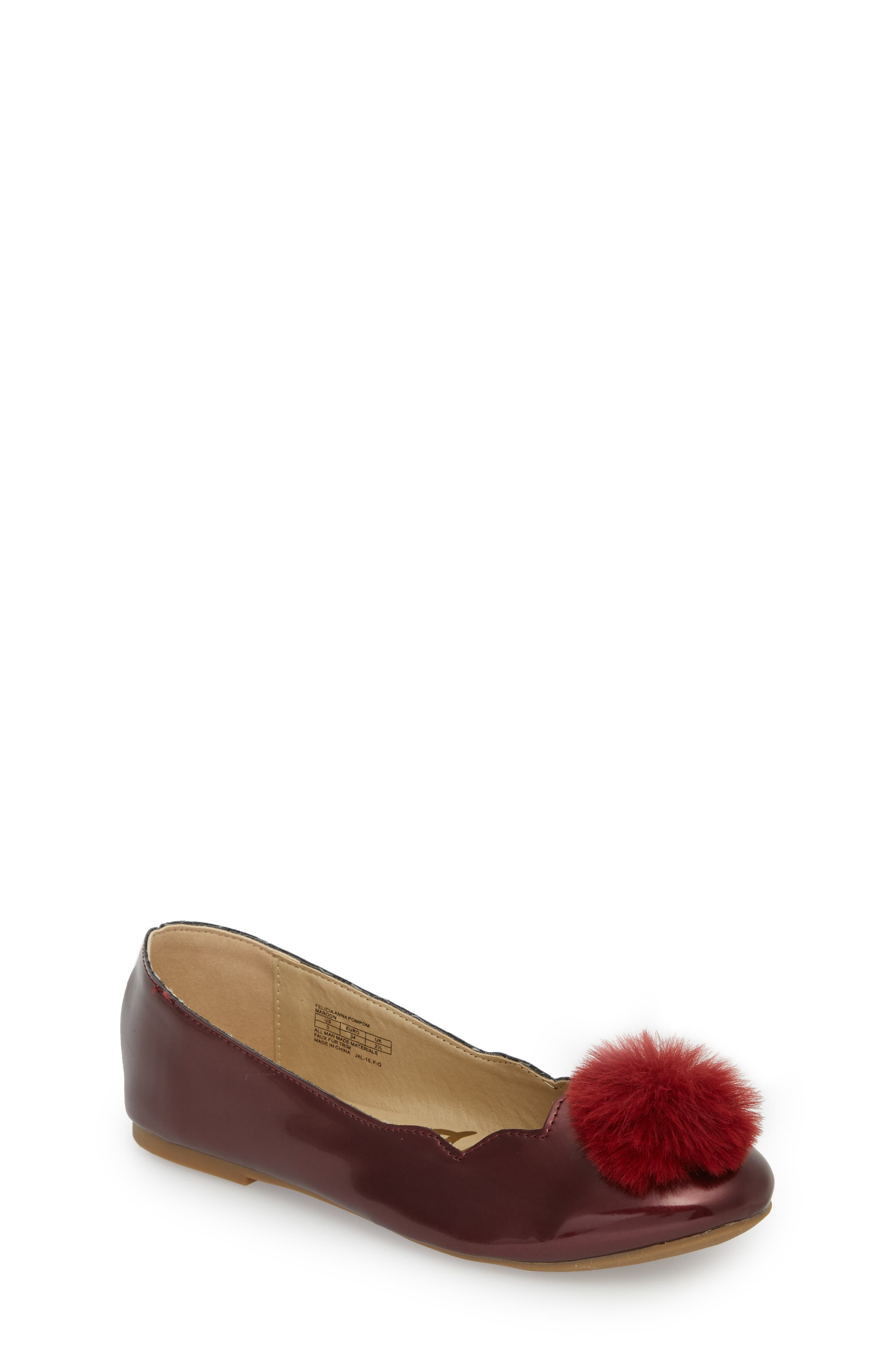 Felicia Anna Faux Fur Pom Flat,                             Main thumbnail 1, color,                             Maroon