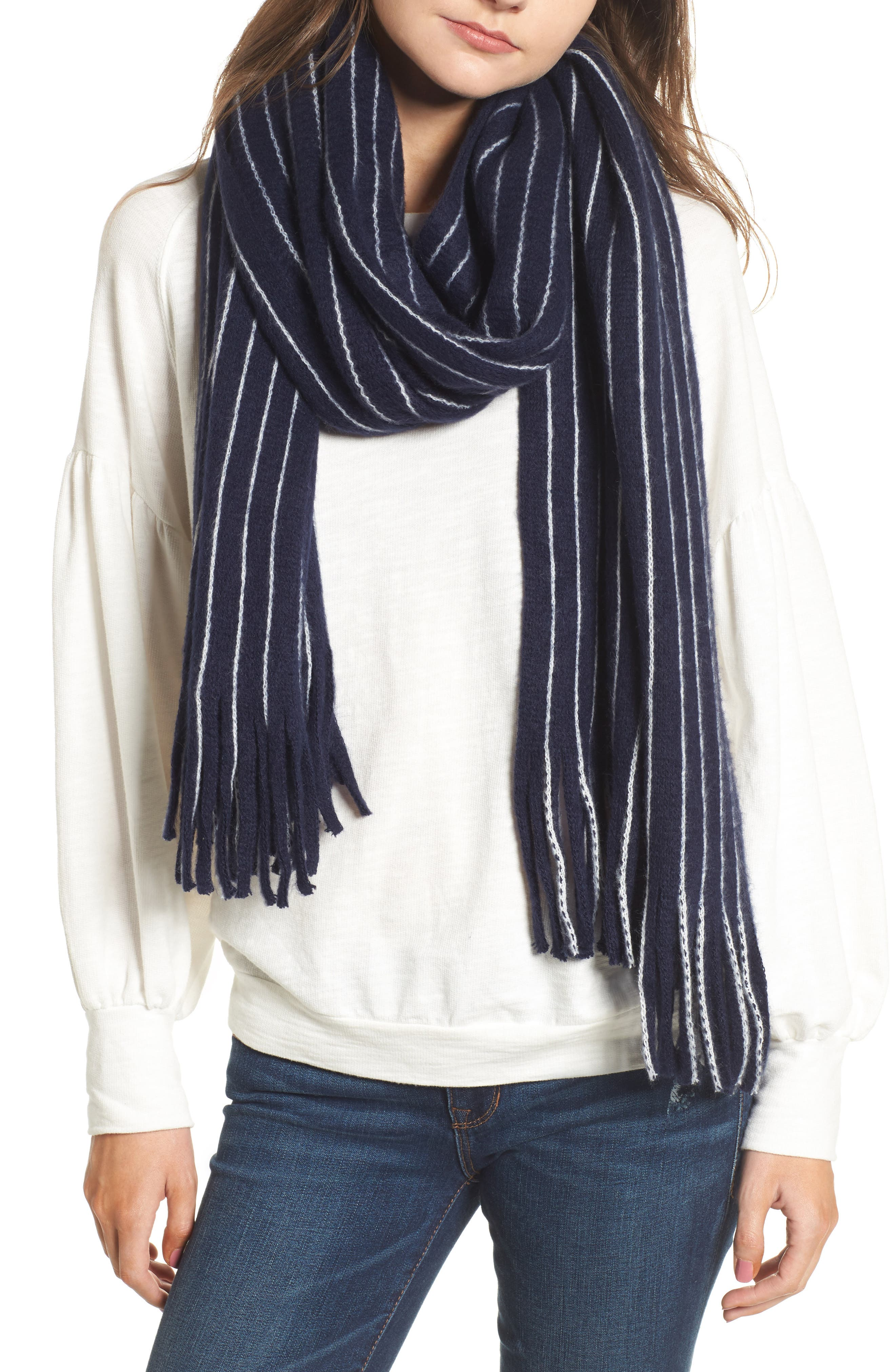 Fringed Stripe Scarf,                         Main,                         color, Navy