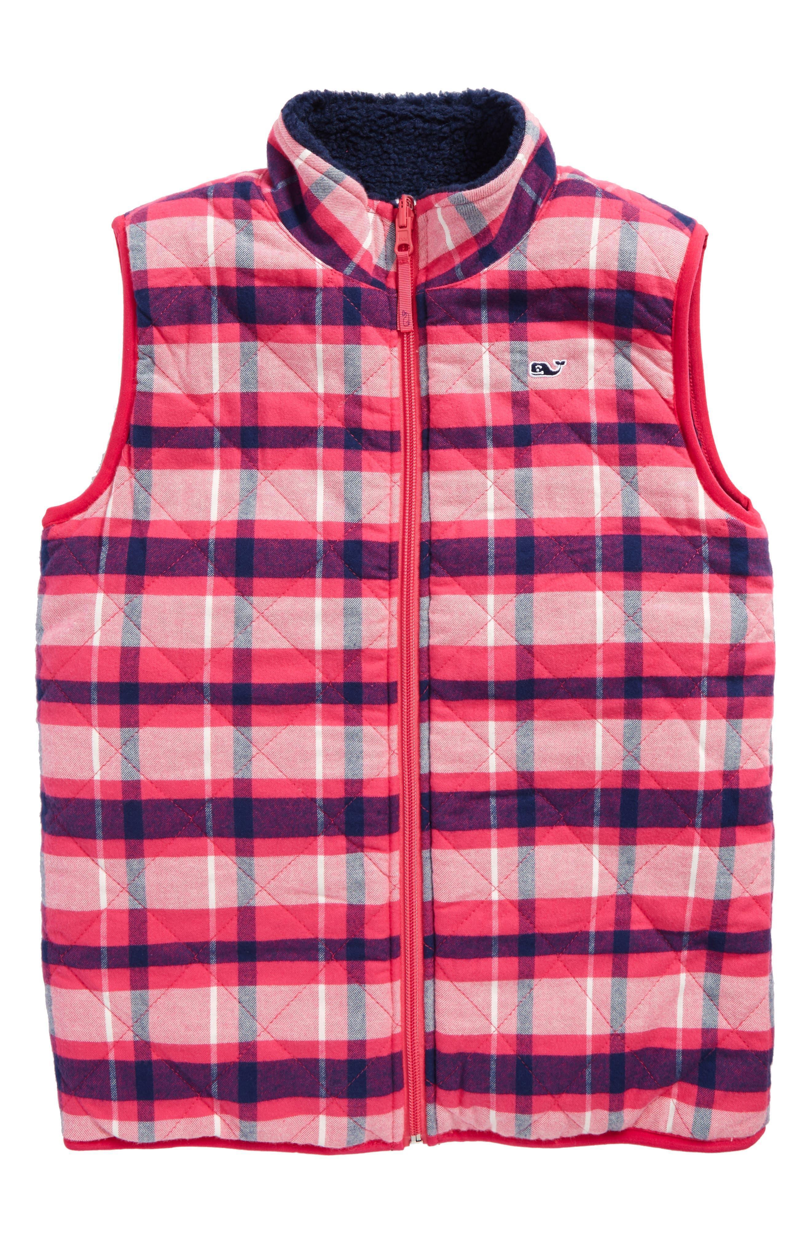 vineyard vines Reversible Plaid Fleece Vest (Little Girls & Big Girls)