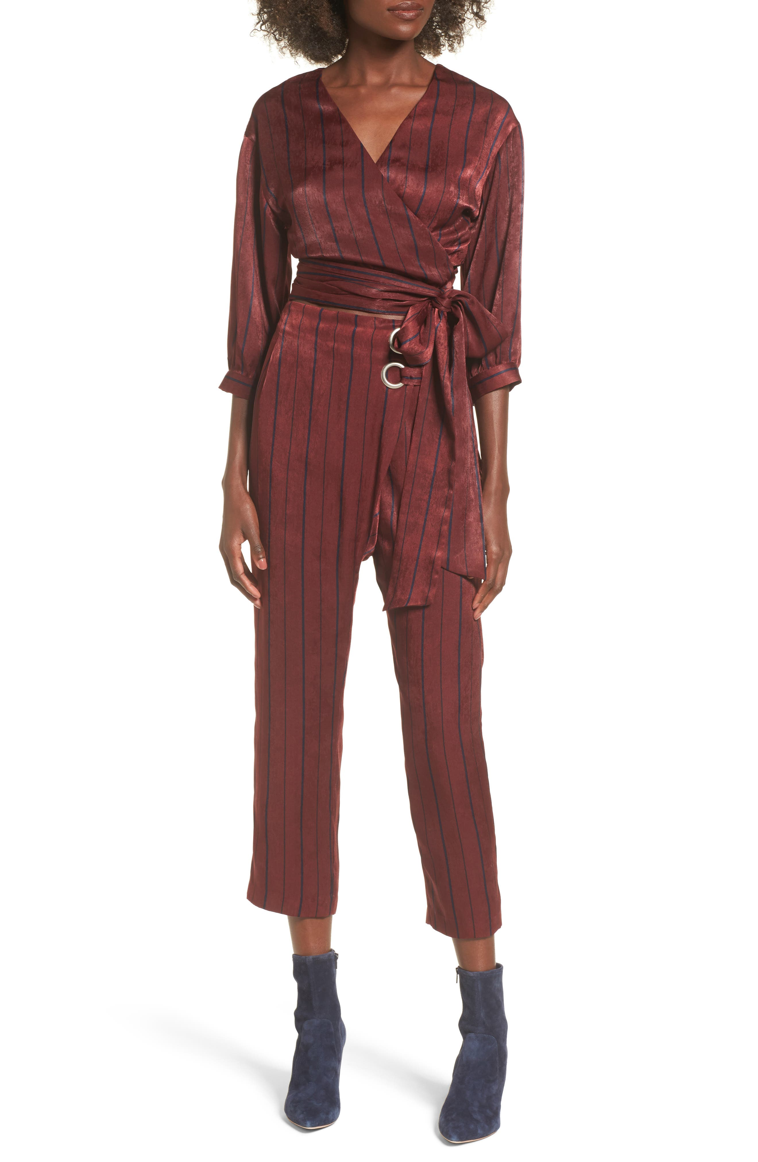Stripe Crop Pants,                             Alternate thumbnail 2, color,                             Wine Multi