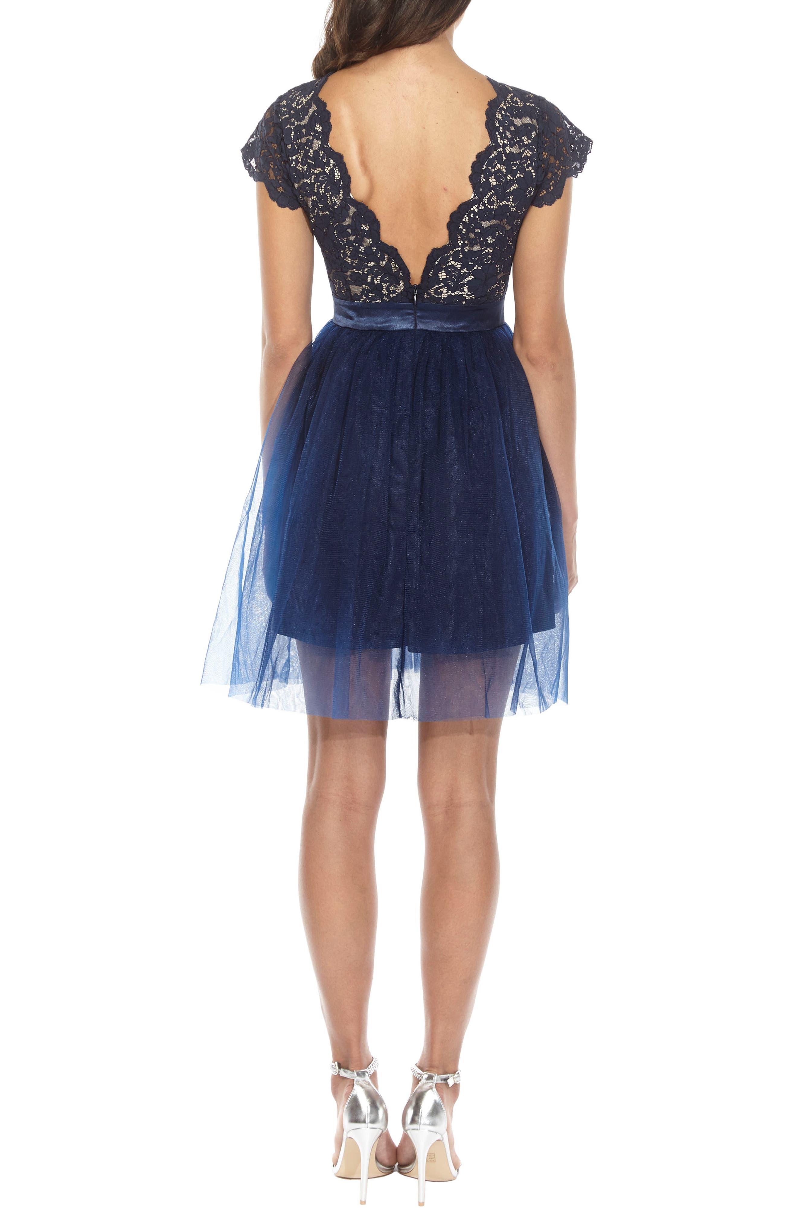 Macen Scalloped Lace Skater Dress,                             Alternate thumbnail 3, color,                             Navy