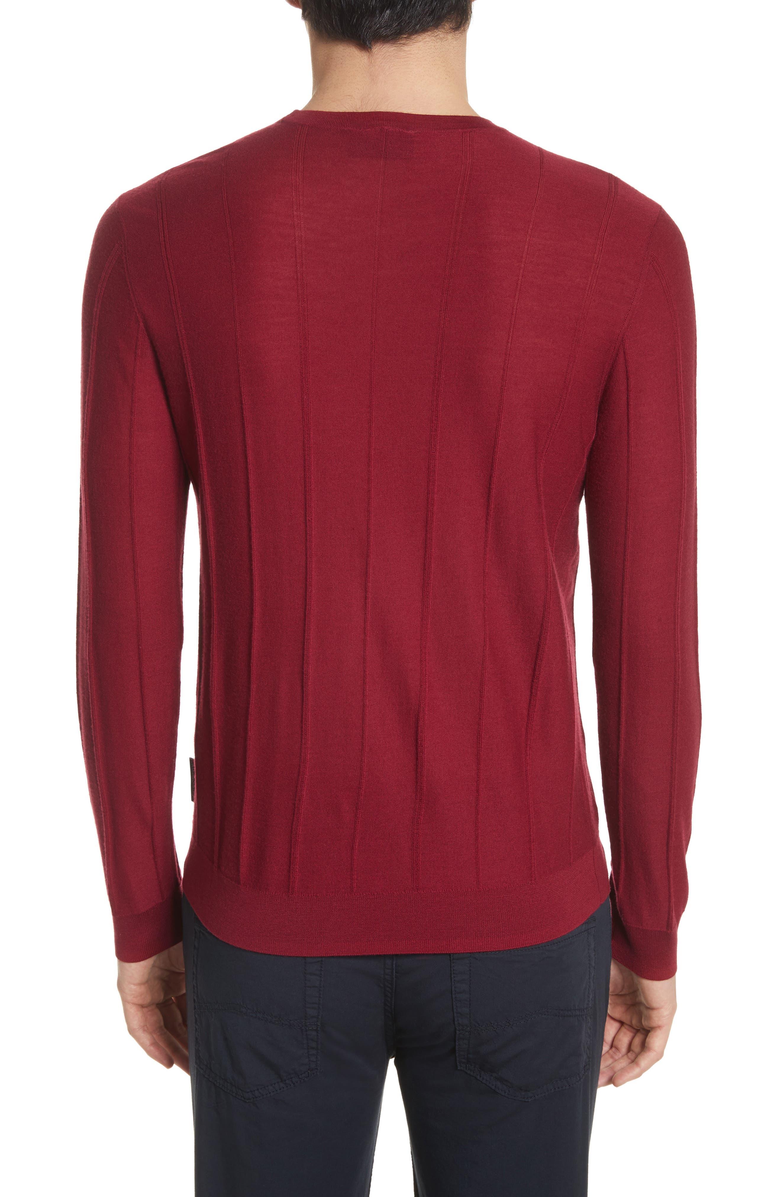 Slim Fit Wool Crewneck Sweater,                             Alternate thumbnail 2, color,                             Borgogna
