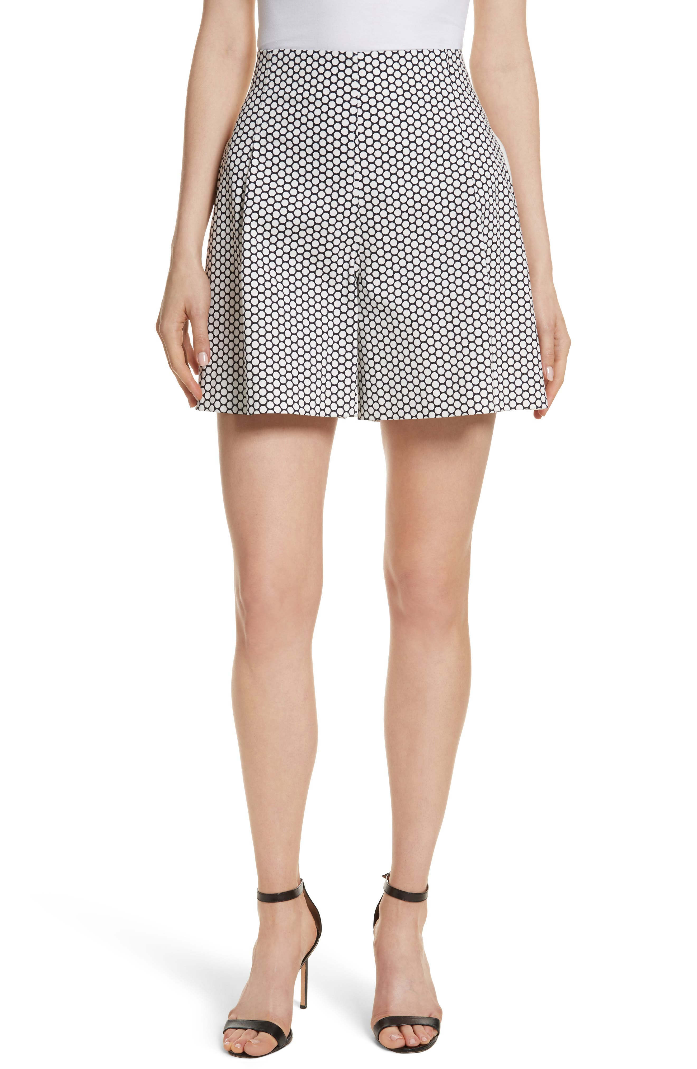 Diane von Furstenberg Dot High Waist Stretch Cotton Shorts,                         Main,                         color, Rowe Dot Ivory